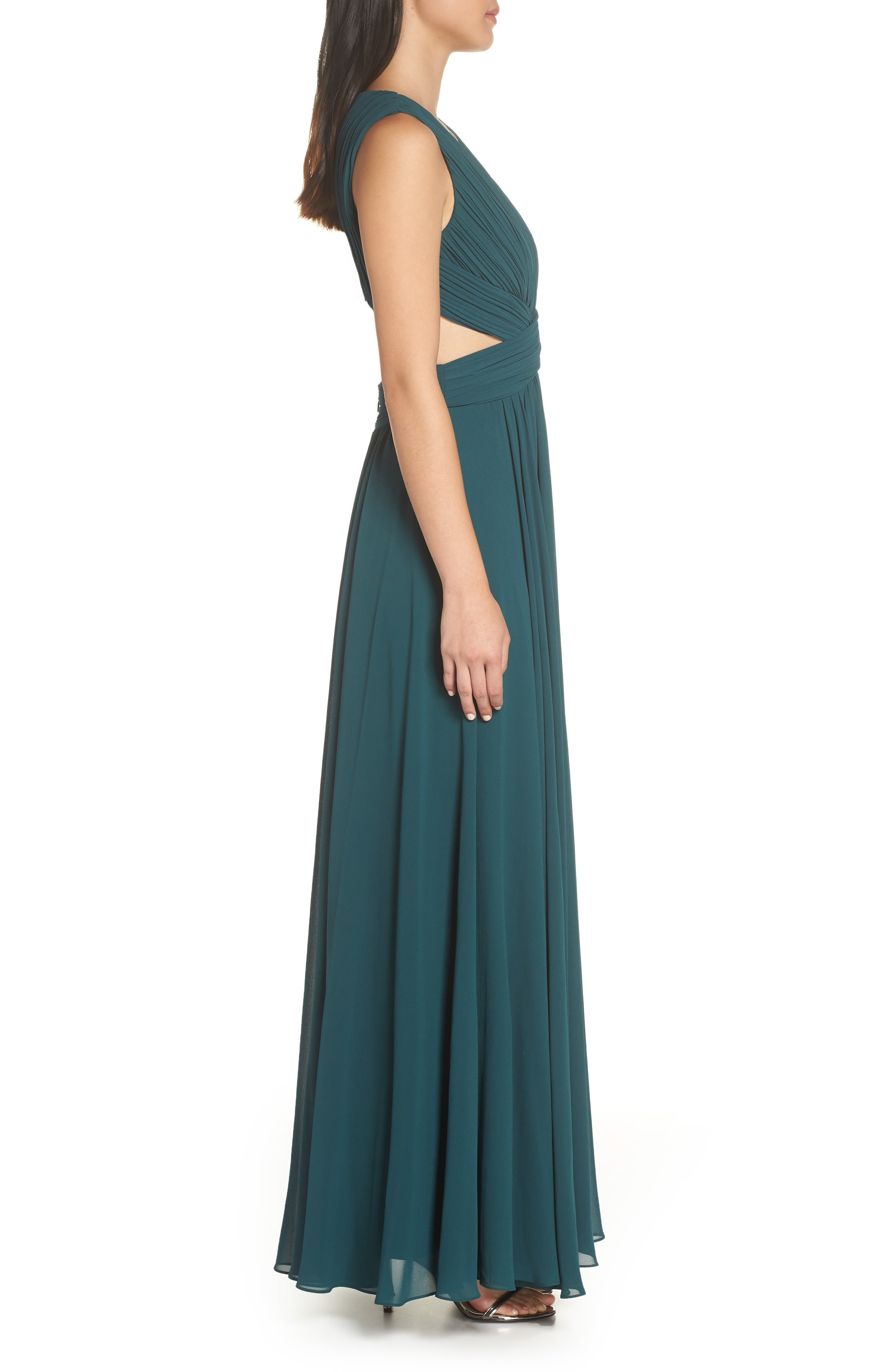 LULUS, Vivid Imagination Chiffon Gown, Alternate thumbnail 4, color, FOREST GREEN