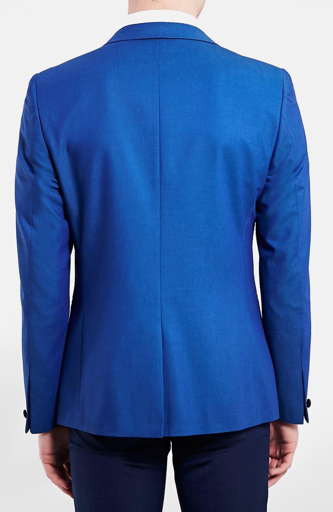 TOPMAN, Blue Skinny Fit Tuxedo Jacket, Alternate thumbnail 3, color, 400