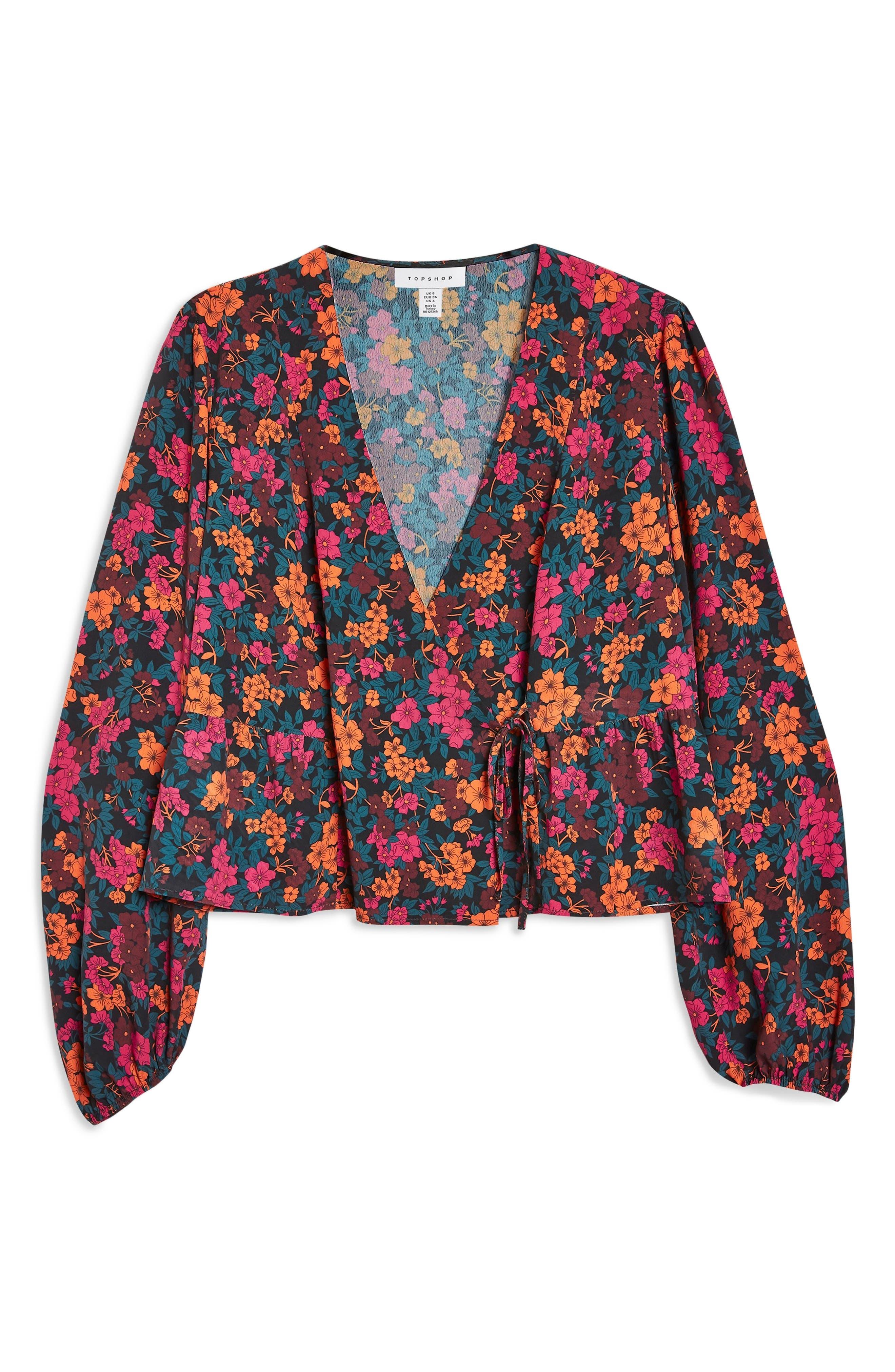 TOPSHOP, Grand Estate Floral Blouse, Alternate thumbnail 4, color, 600