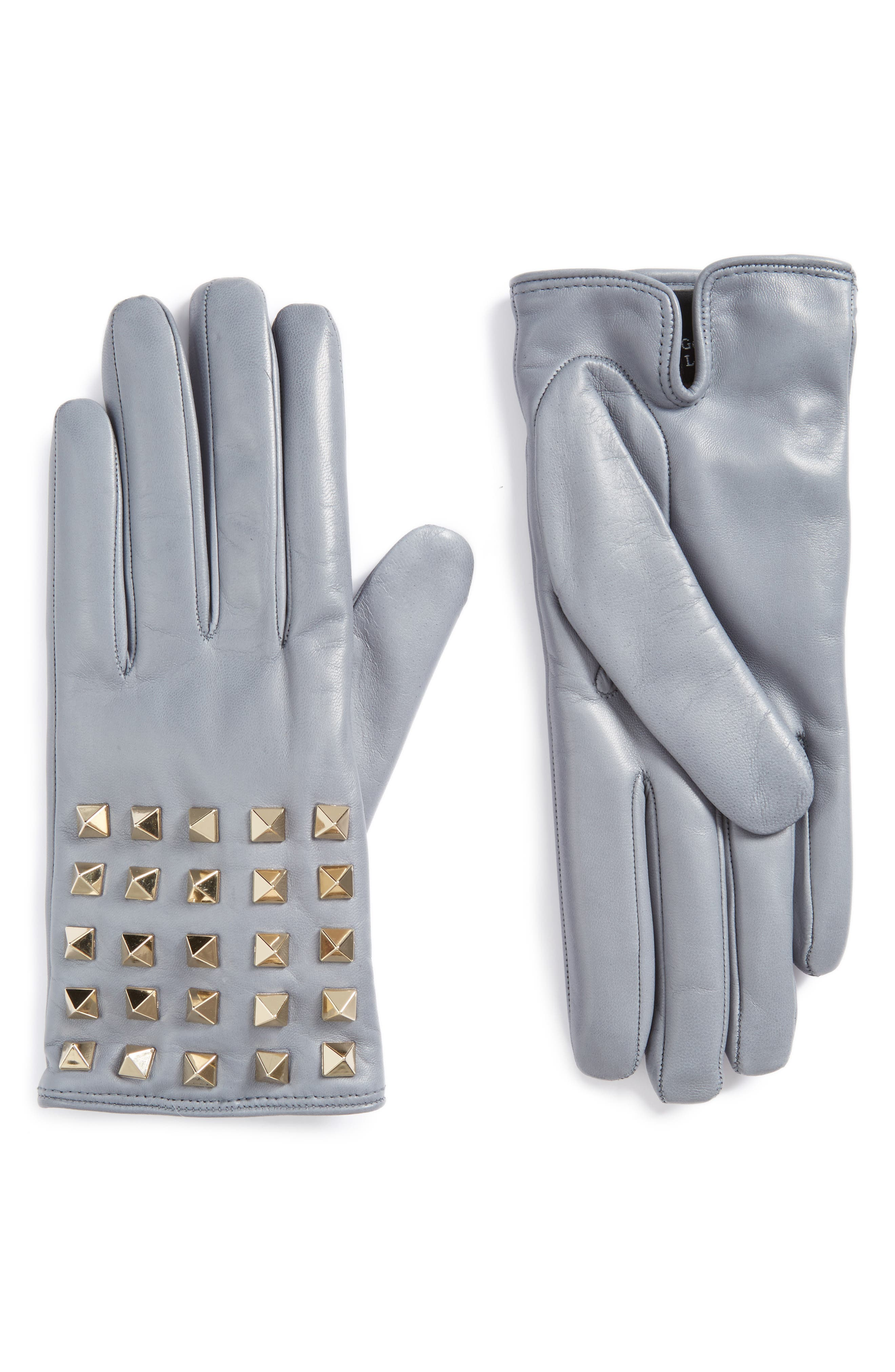 VALENTINO, GARAVANI Rockstud Leather Gloves, Main thumbnail 1, color, POWDER