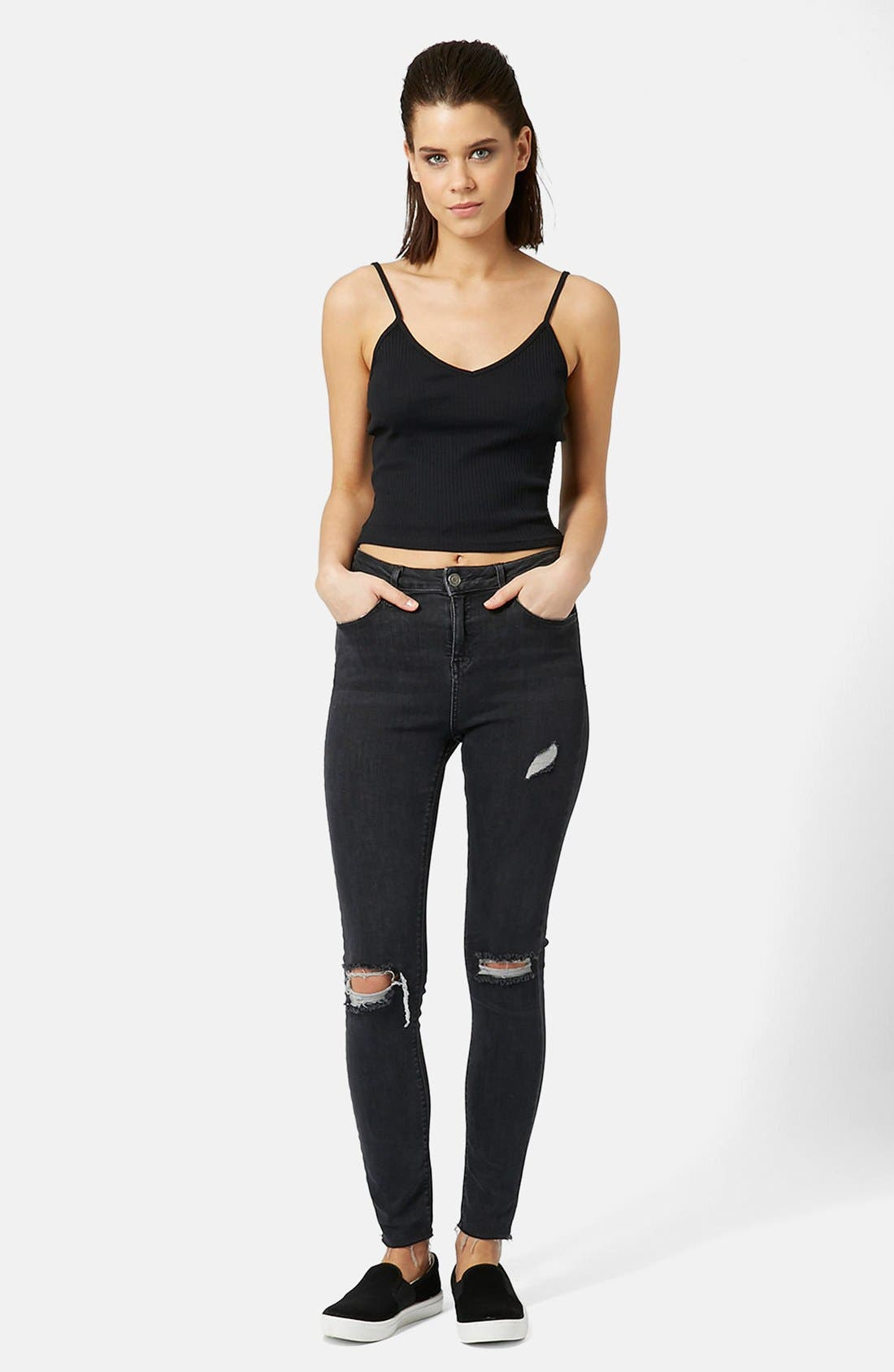 TOPSHOP, Ribbed Crop Camisole, Alternate thumbnail 5, color, 001