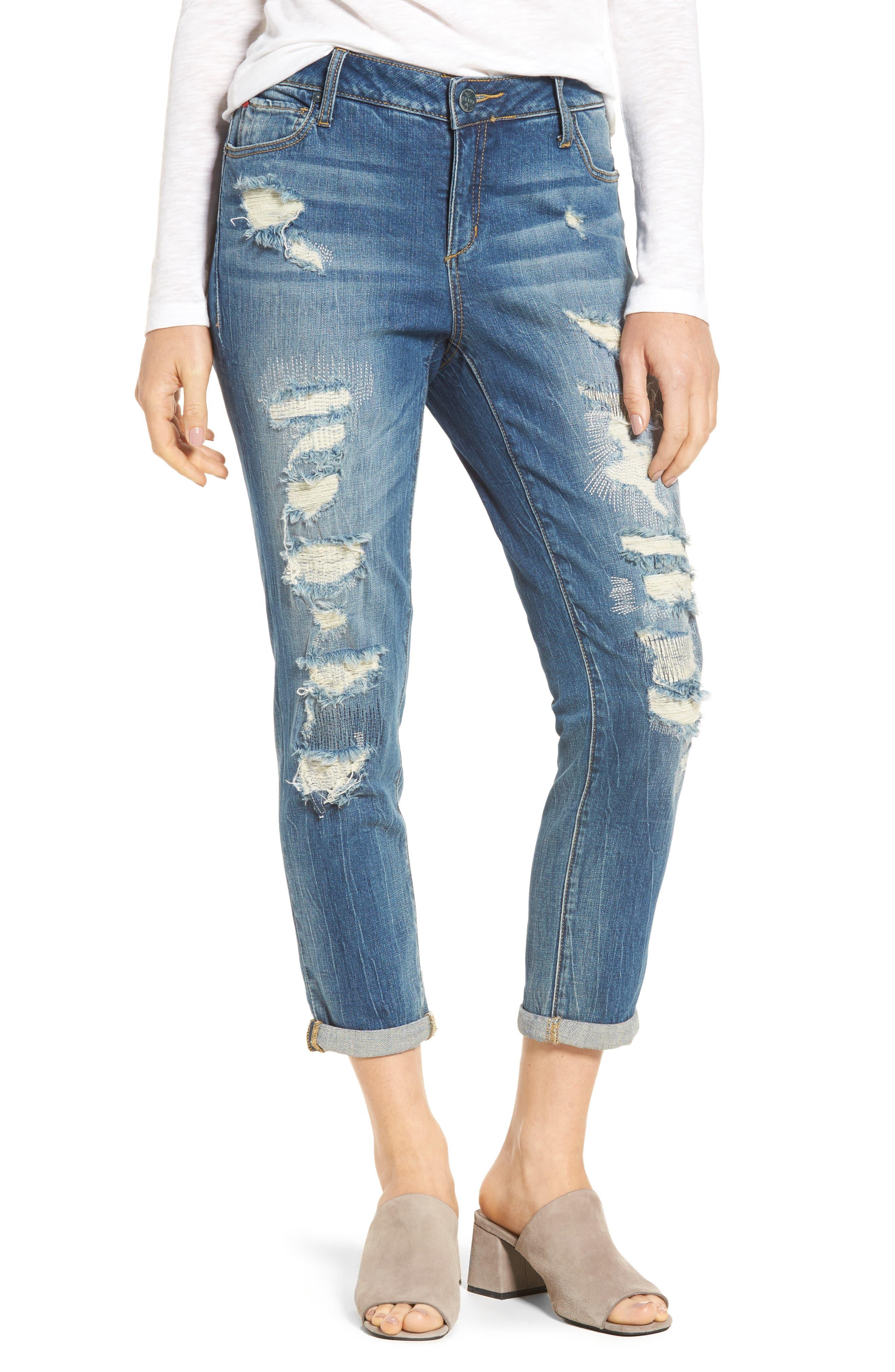 SLINK JEANS Distressed Ankle Boyfriend Jeans, Main, color, 456