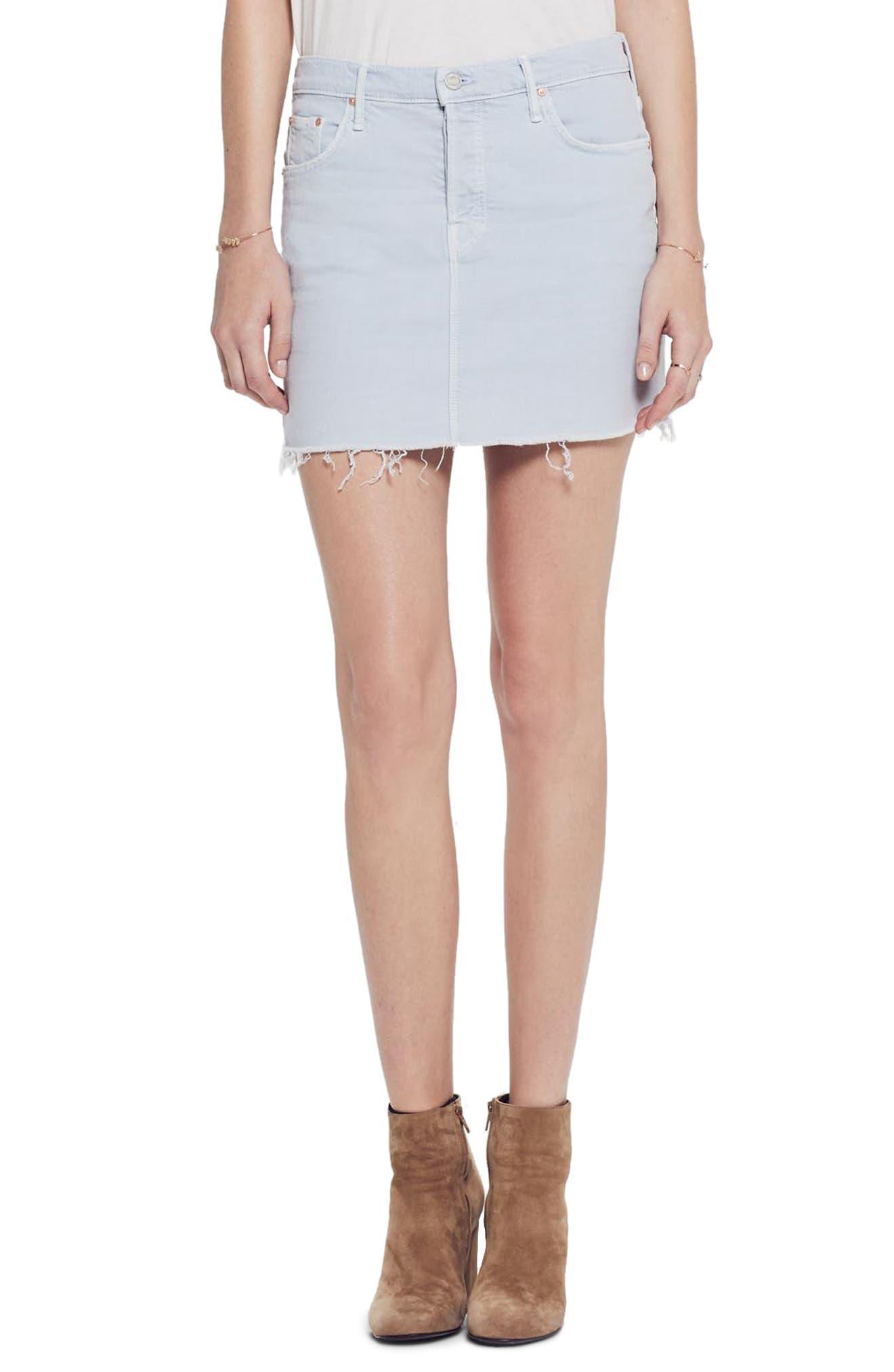 MOTHER, The Vagabond Cutoff Denim Miniskirt, Main thumbnail 1, color, 450