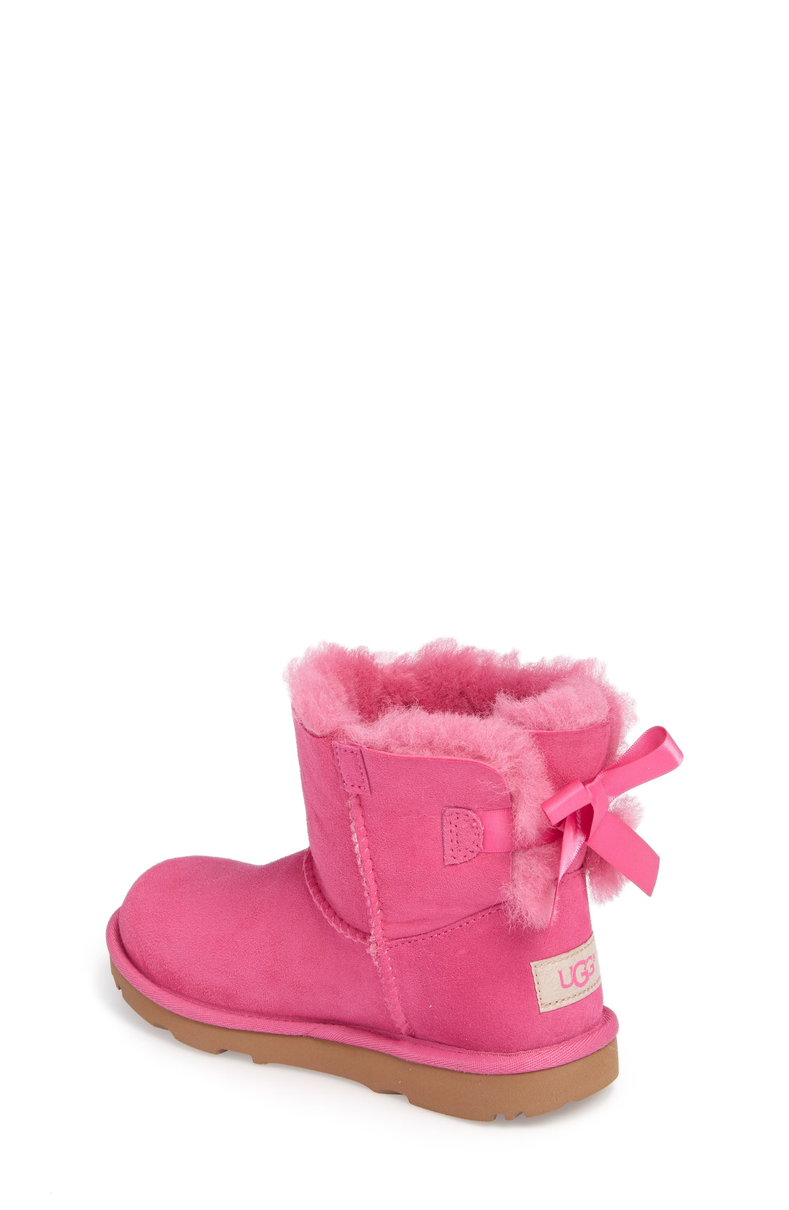 UGG<SUP>®</SUP>, Mini Bailey Bow II Water Resistant Boot, Alternate thumbnail 2, color, PINK AZALEA