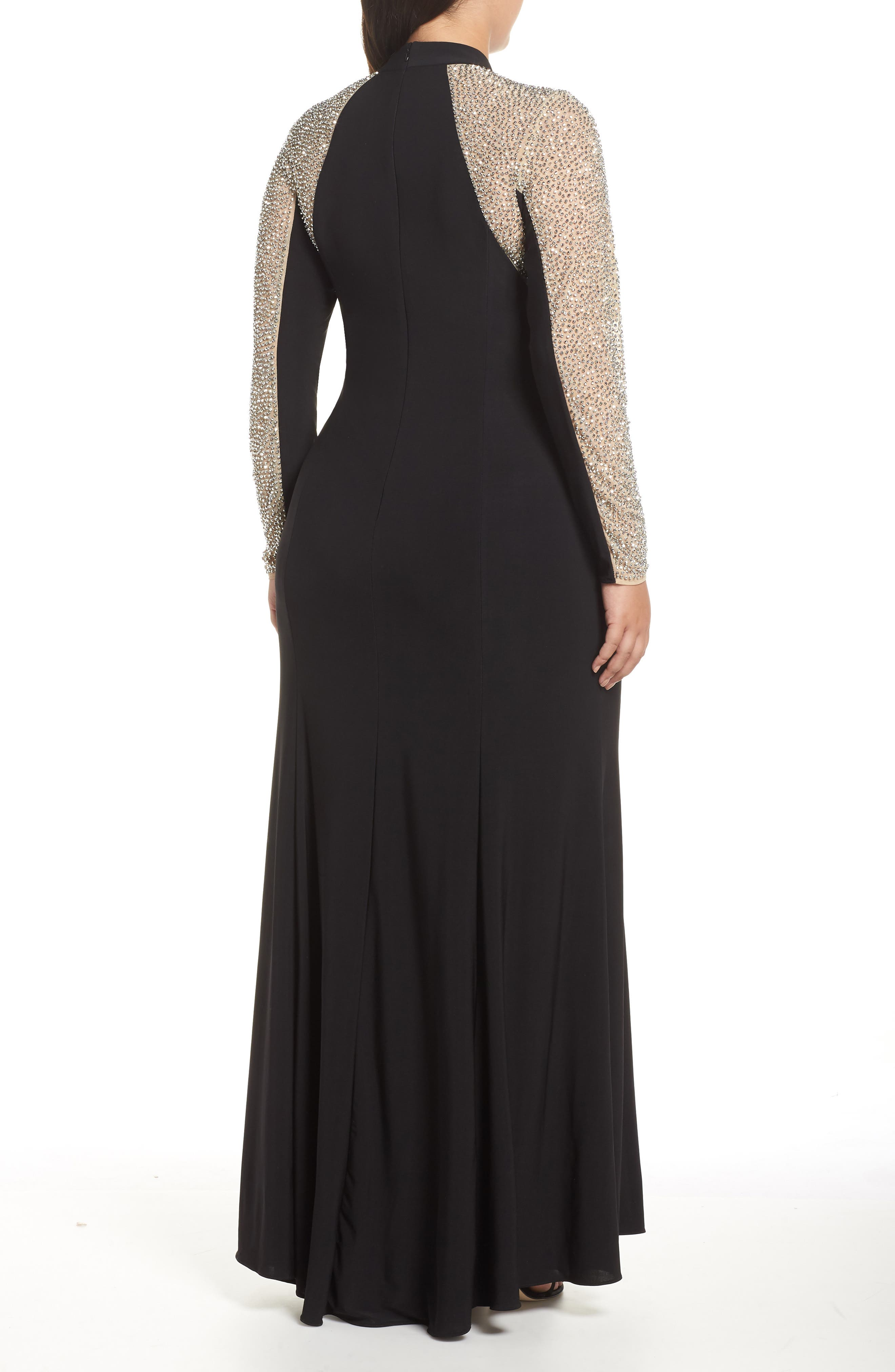 XSCAPE, Beaded A-Line Gown, Alternate thumbnail 2, color, BLACK/ NUDE/ SILVER