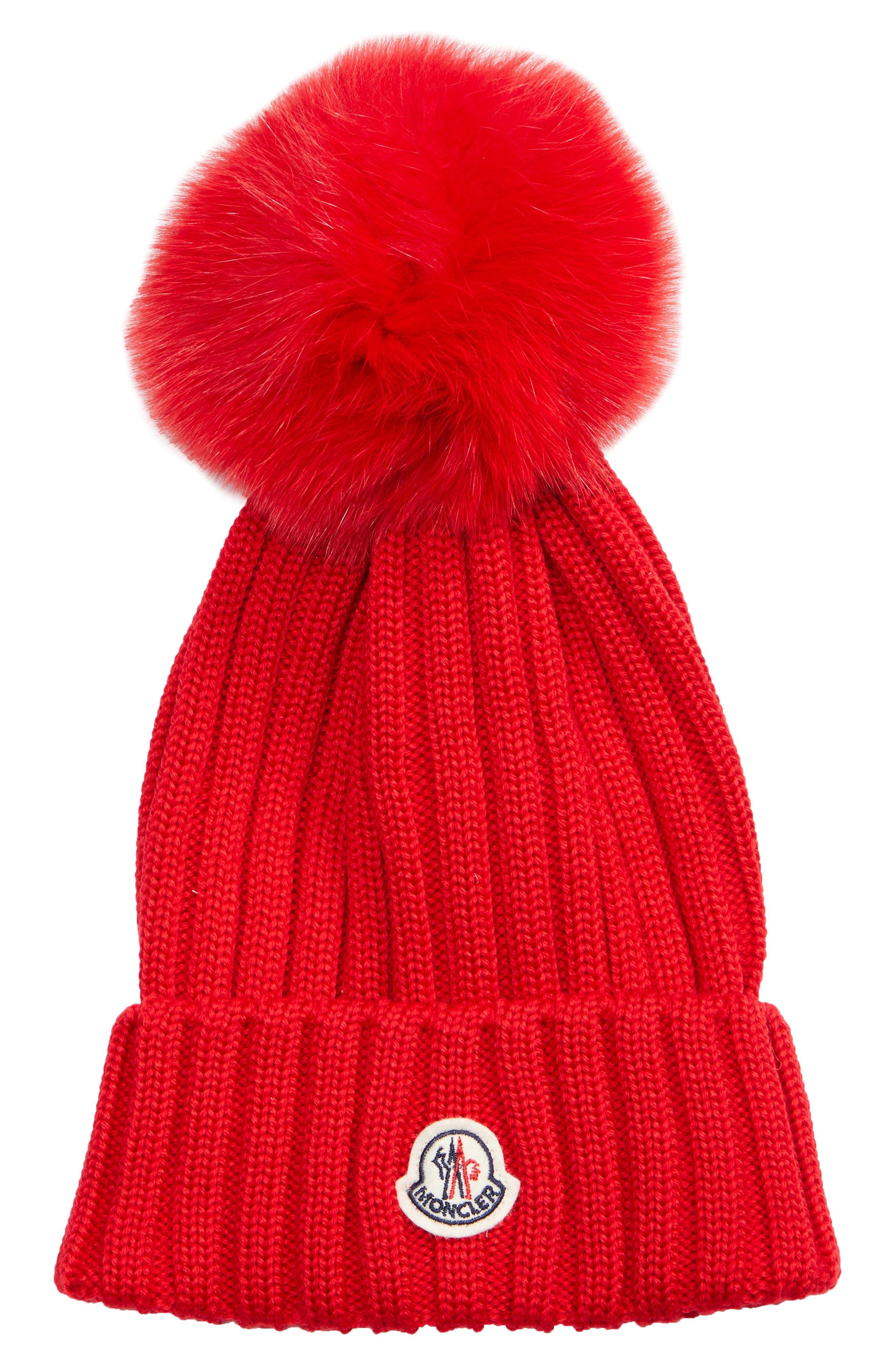 Moncler Genuine Fox Fur Pom Wool Beanie -