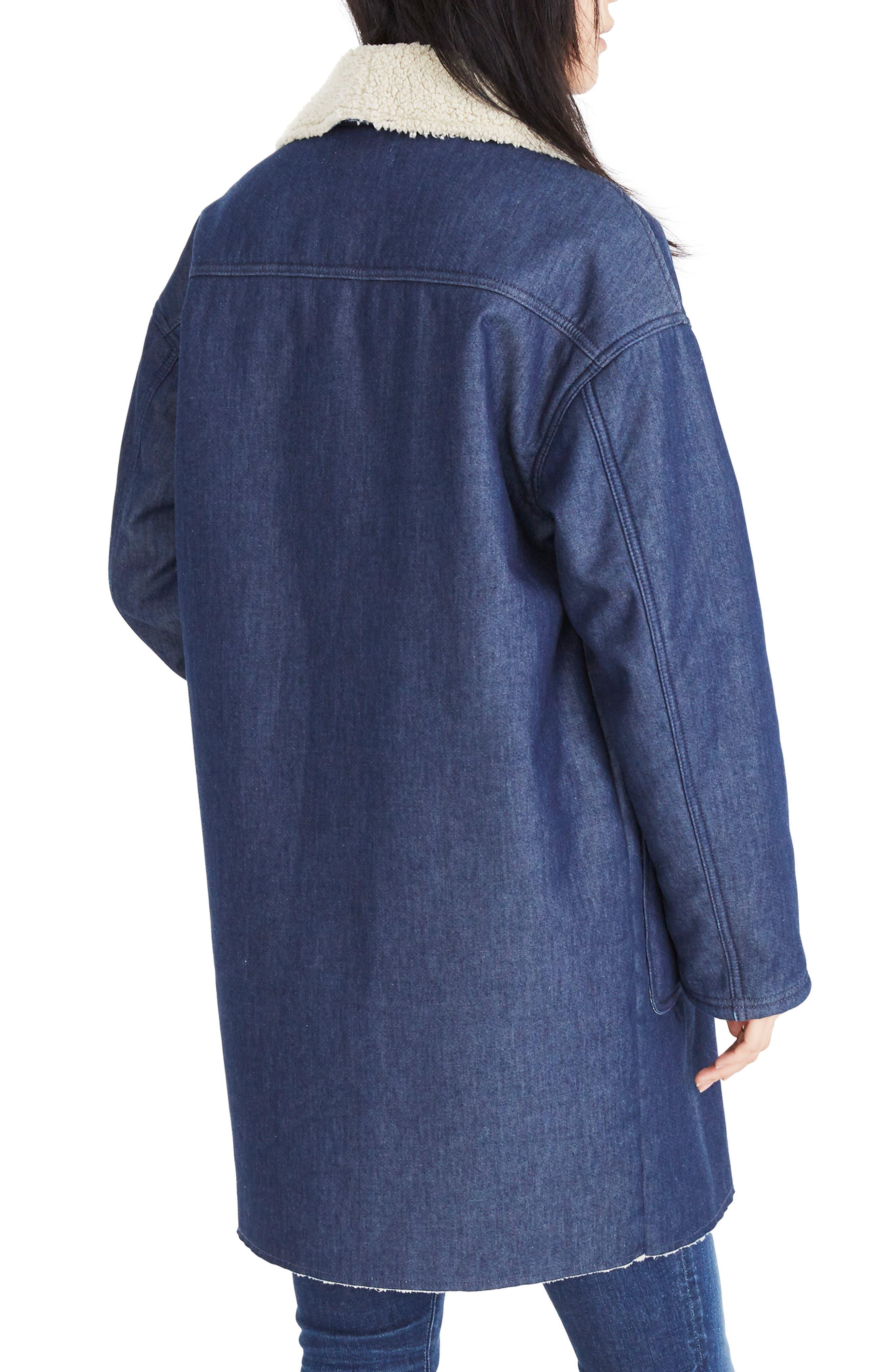 MADEWELL, Fleece Trim Denim Cocoon Coat, Alternate thumbnail 2, color, BRUNSWICK WASH