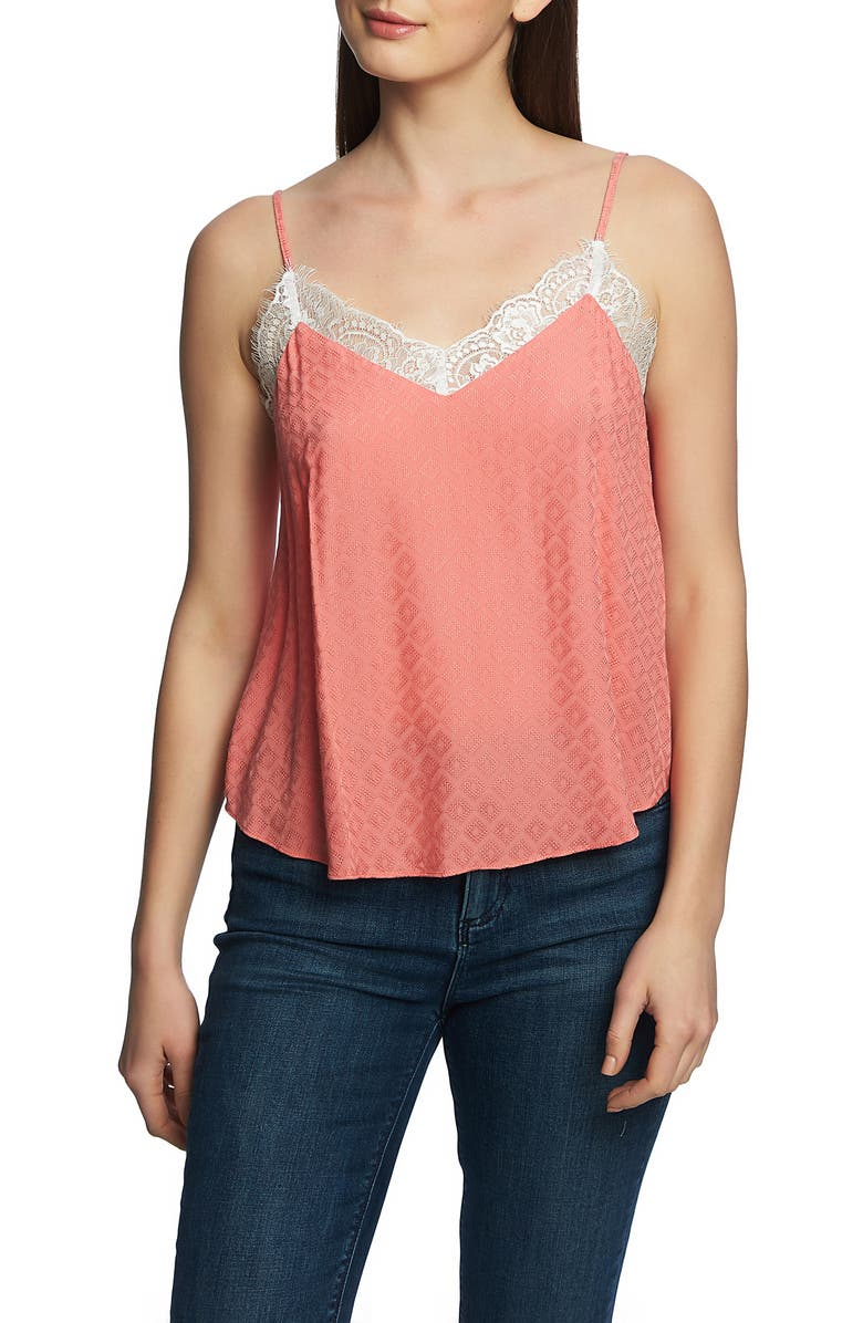 1.state Tops LACE TRIM TANK TOP