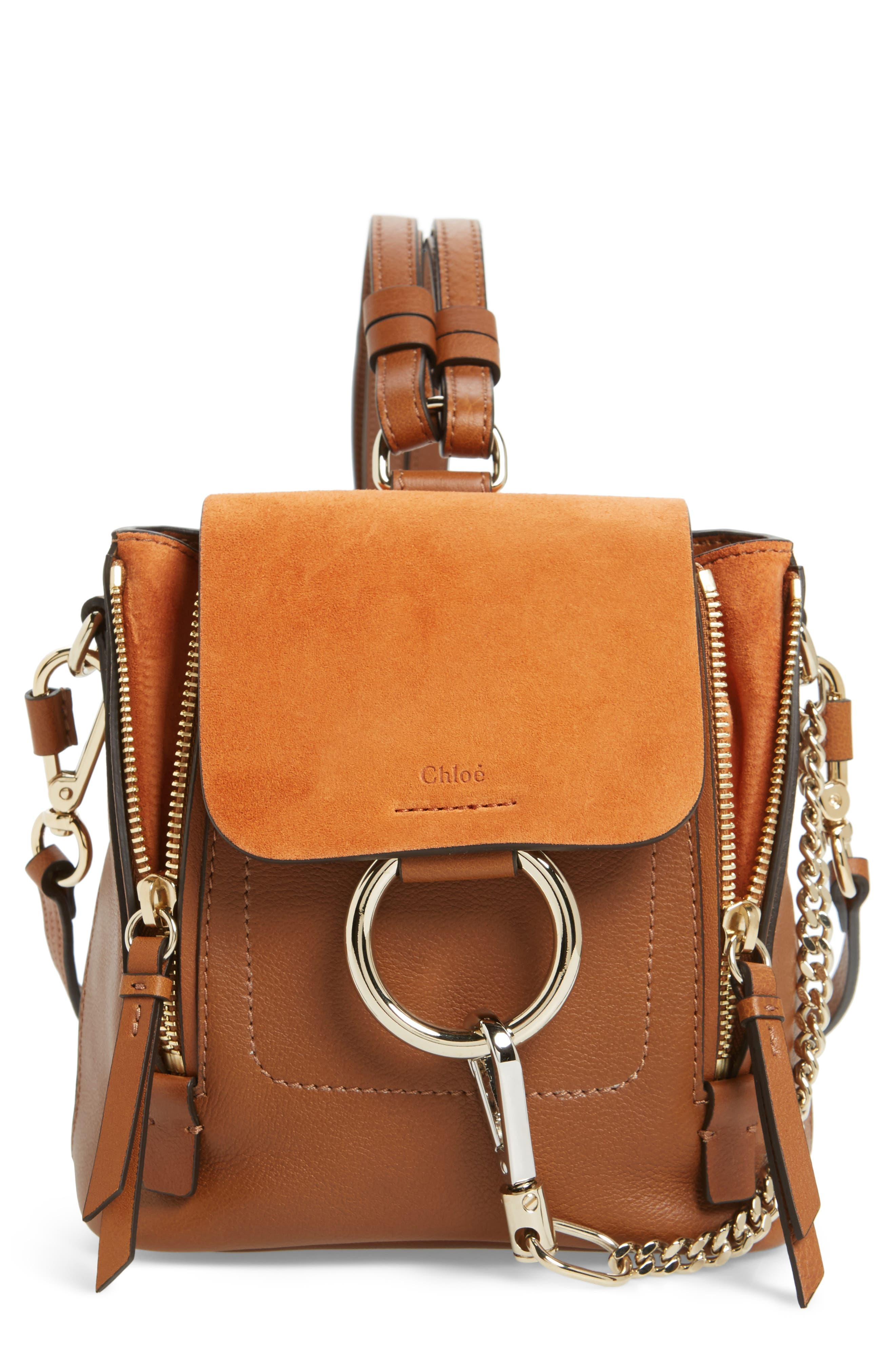 CHLOÉ, Mini Faye Leather & Suede Backpack, Main thumbnail 1, color, TAN
