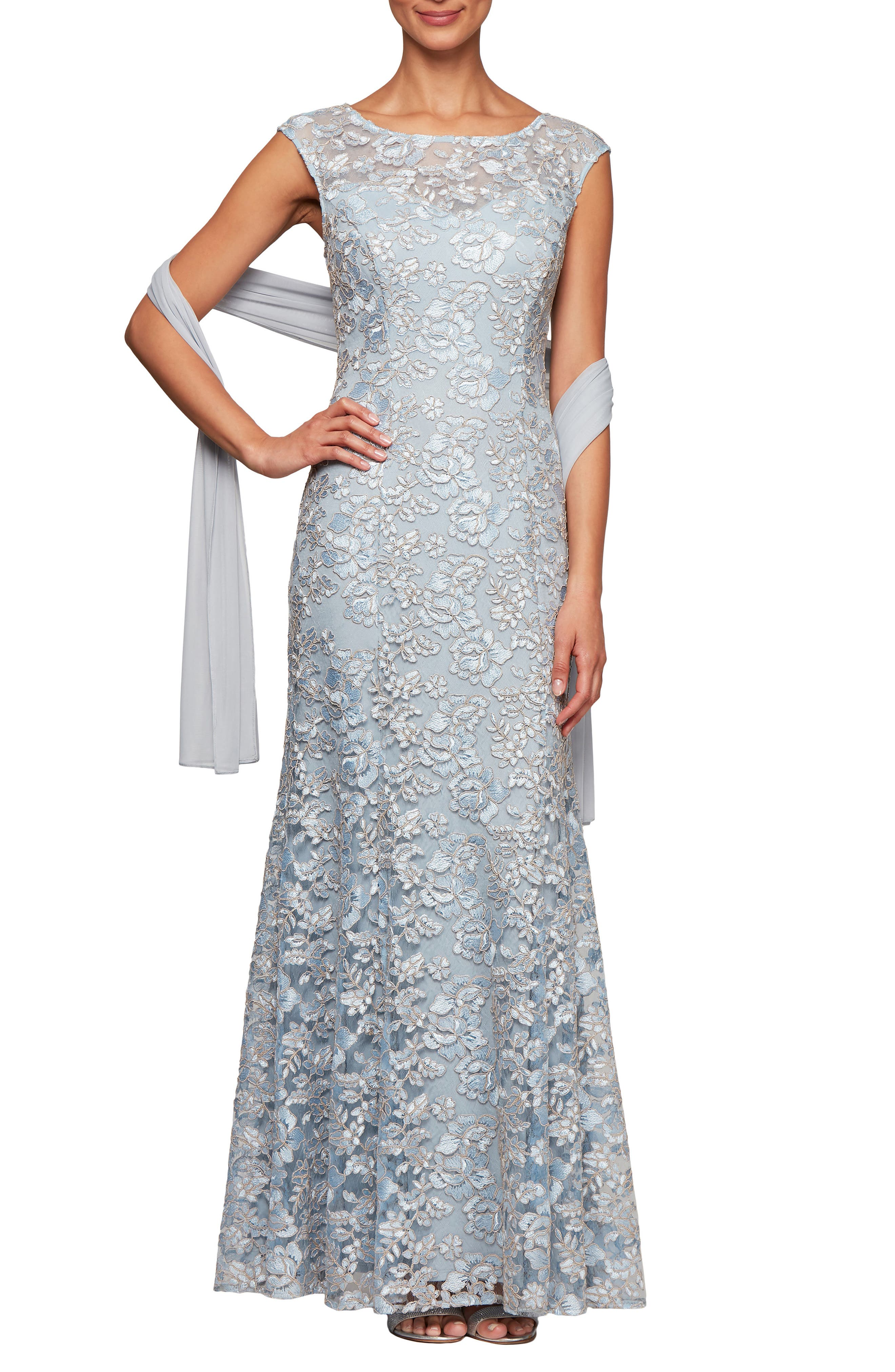Petite Alex Evenings Floral Embroidered Evening Dress With Wrap, Blue
