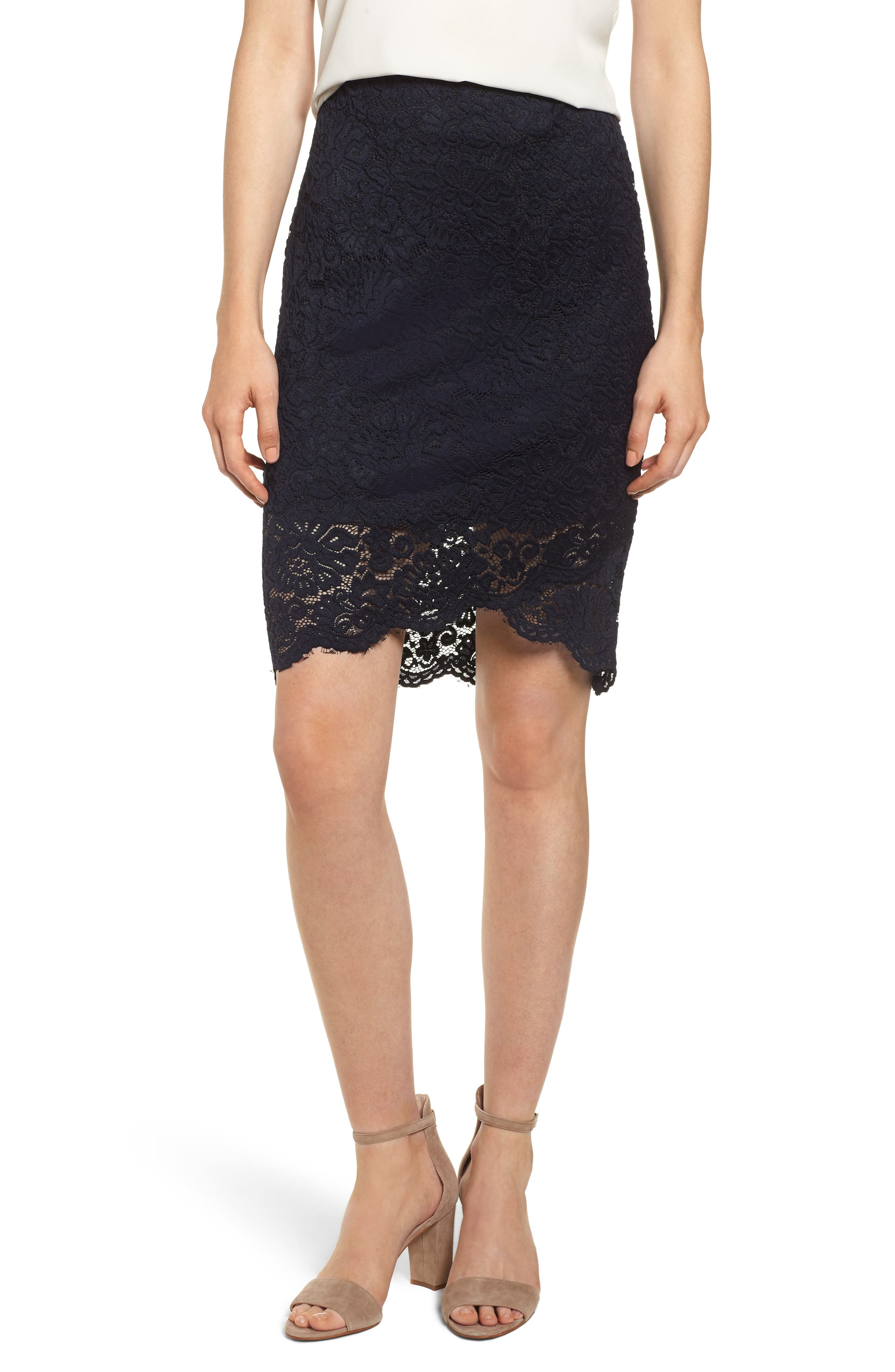 ROSEMUNDE, Lace Pencil Skirt, Main thumbnail 1, color, 001