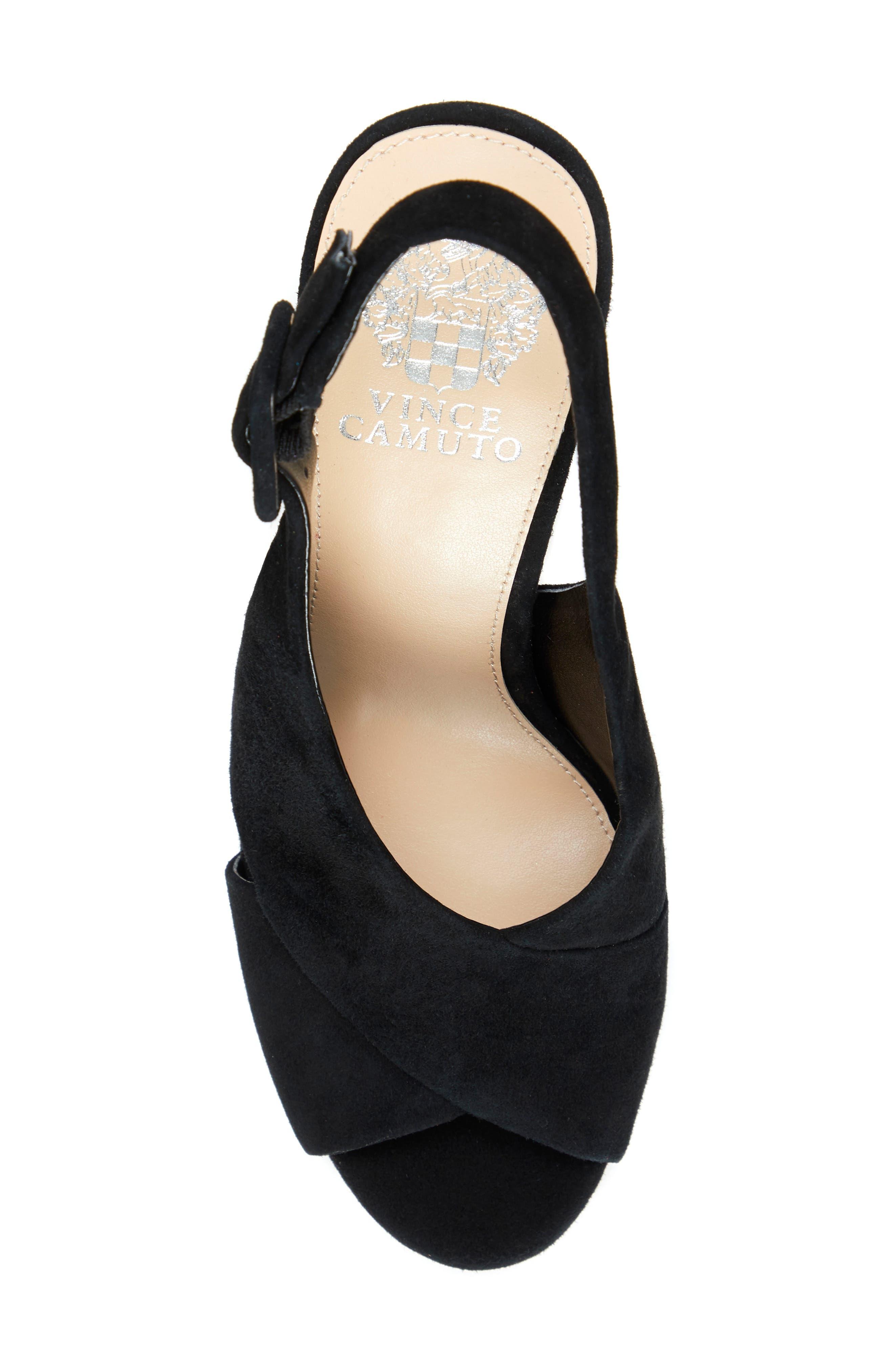 VINCE CAMUTO, Slingback Platform Sandal, Alternate thumbnail 5, color, BLACK 01 SUEDE