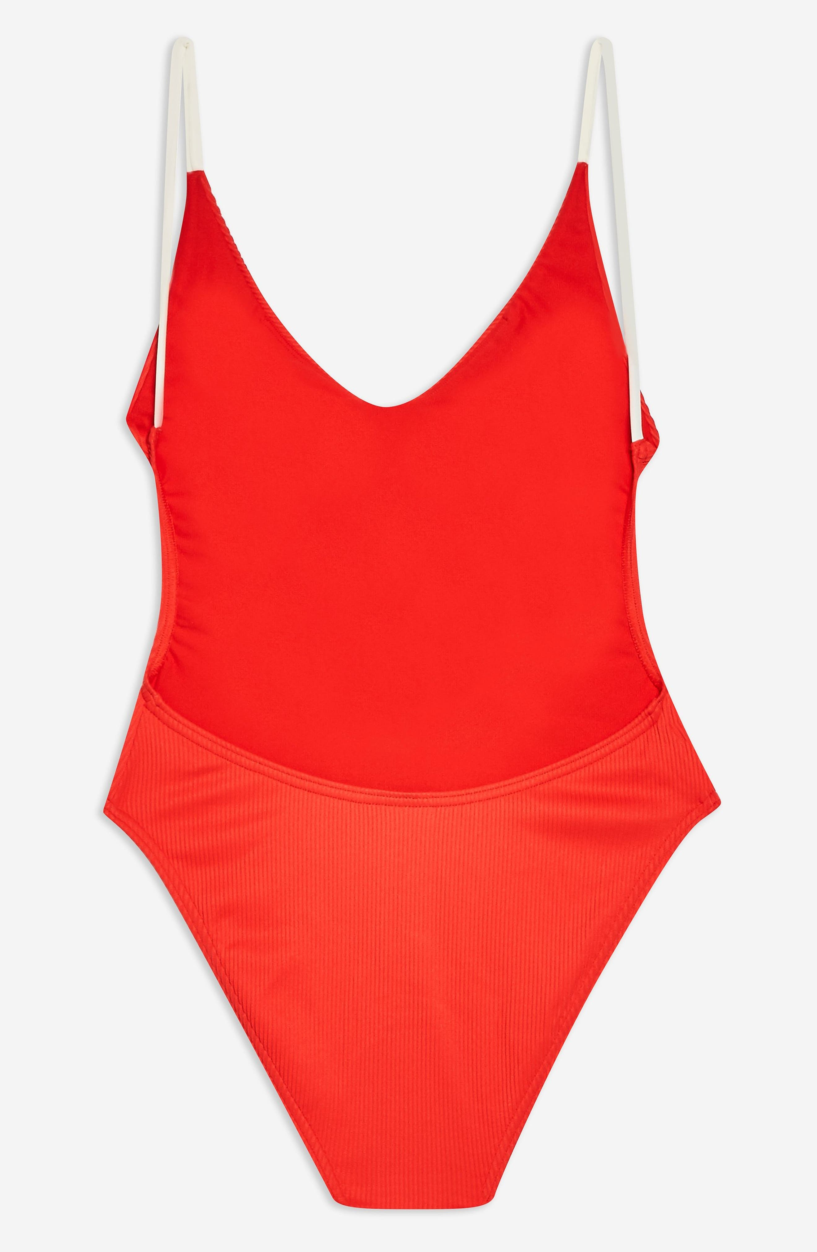 TOPSHOP, Pamela Button Ribbed One-Piece Swimsuit, Alternate thumbnail 5, color, RED