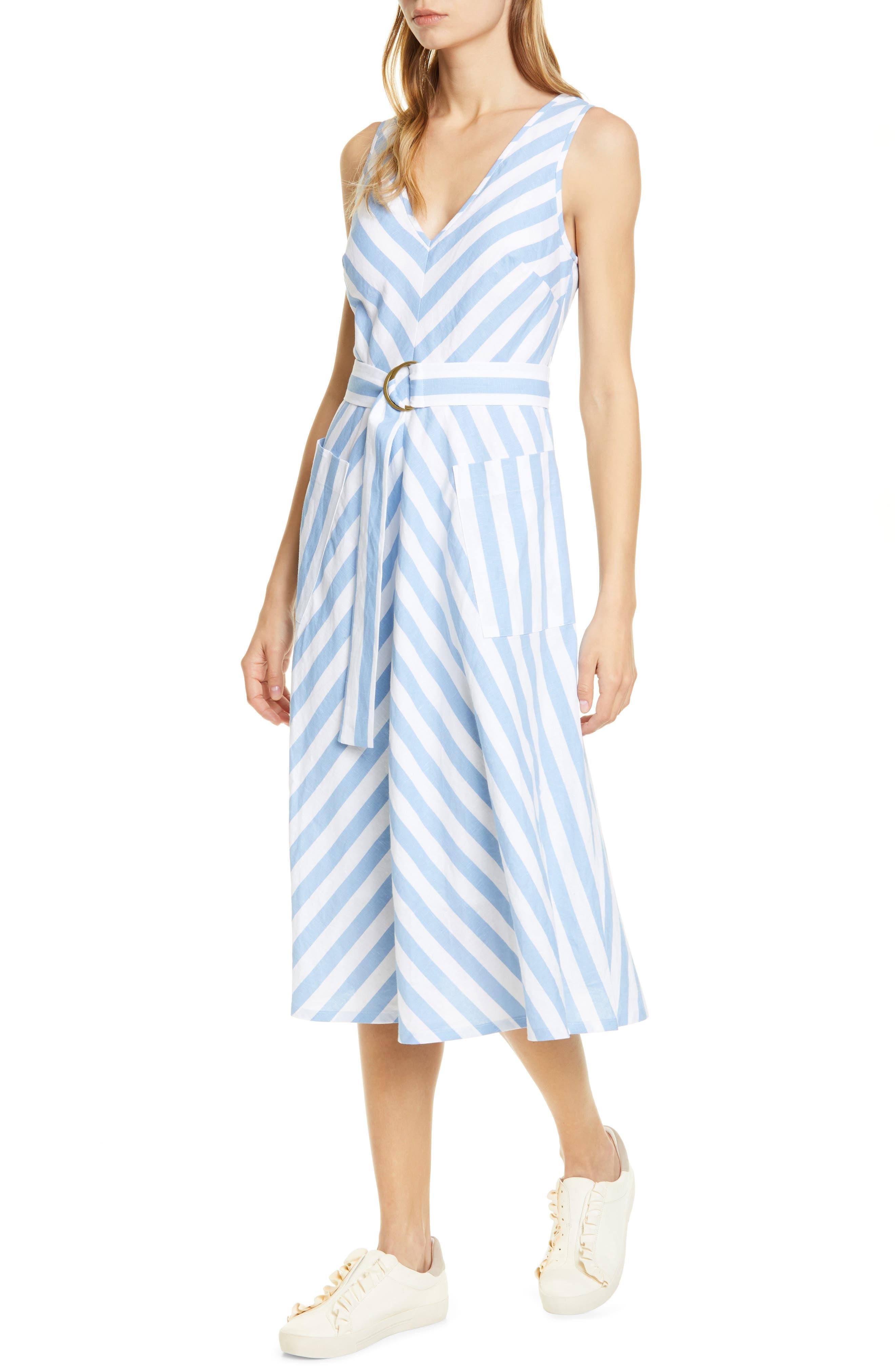Kate Spade New York Deck Stripe Midi Dress, Blue