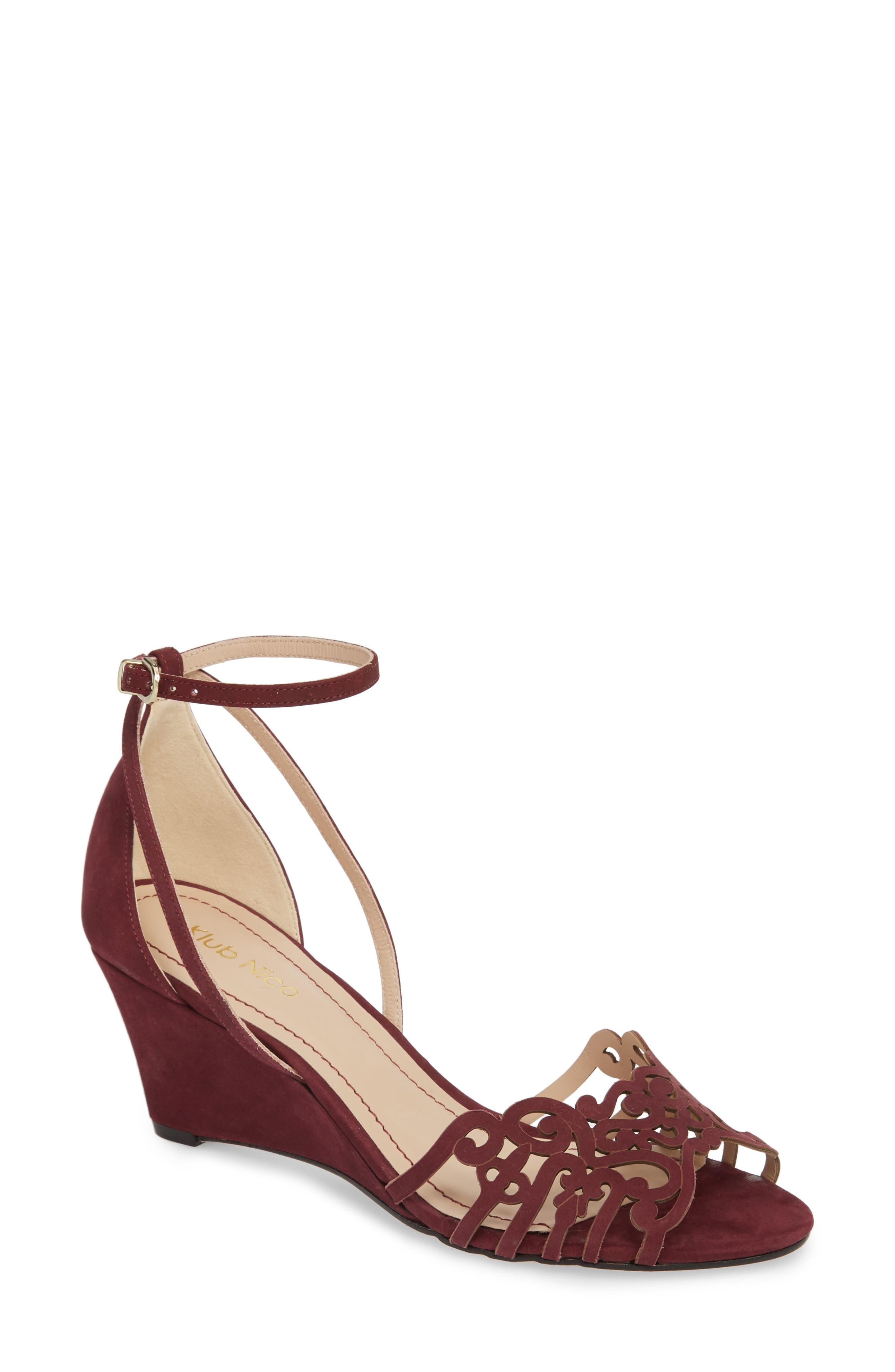 KLUB NICO, 'Kingston' Ankle Strap Wedge Sandal, Main thumbnail 1, color, WINE LEATHER