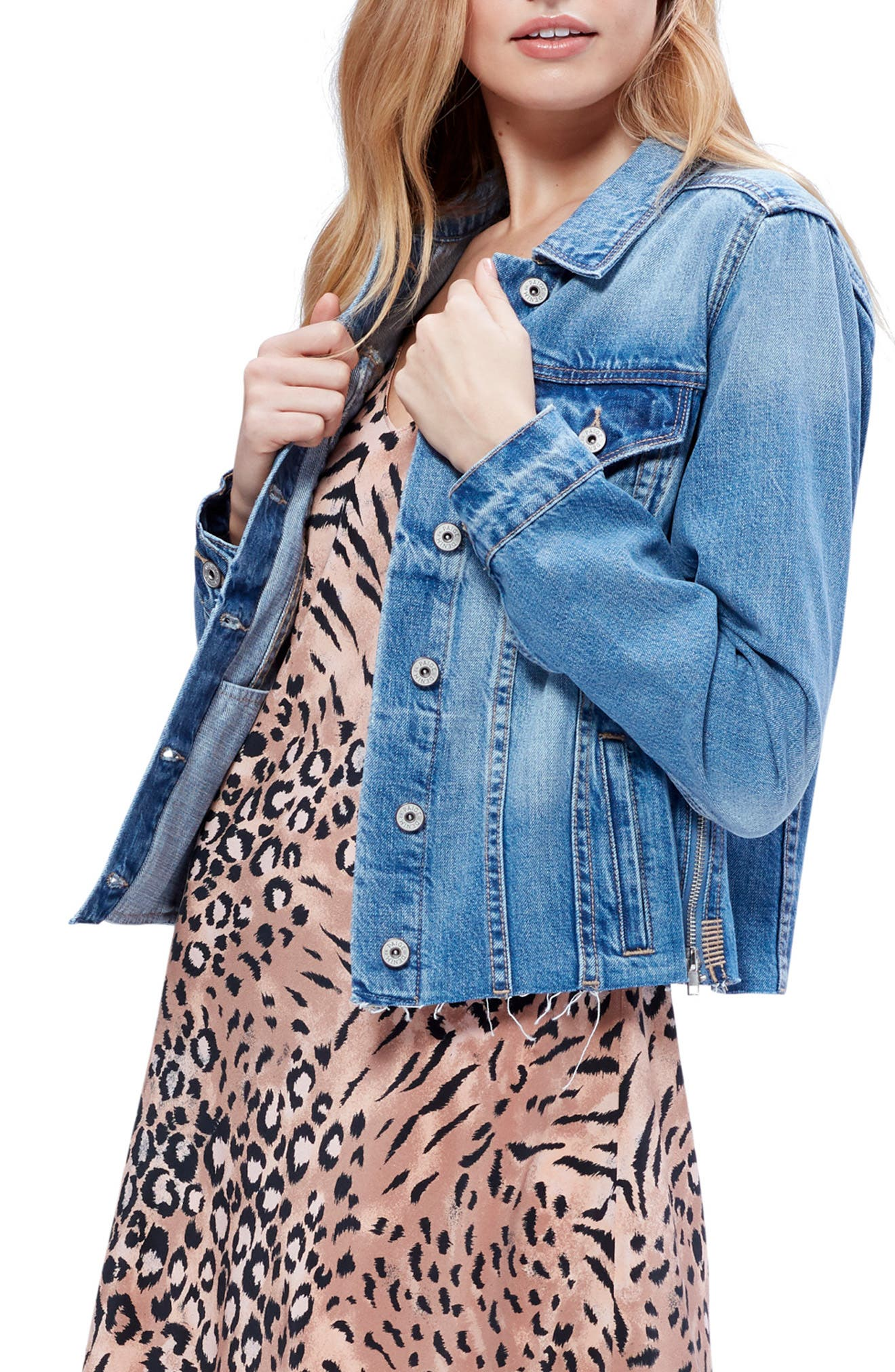 PAIGE Rowan Raw Hem Denim Jacket, Main, color, 400