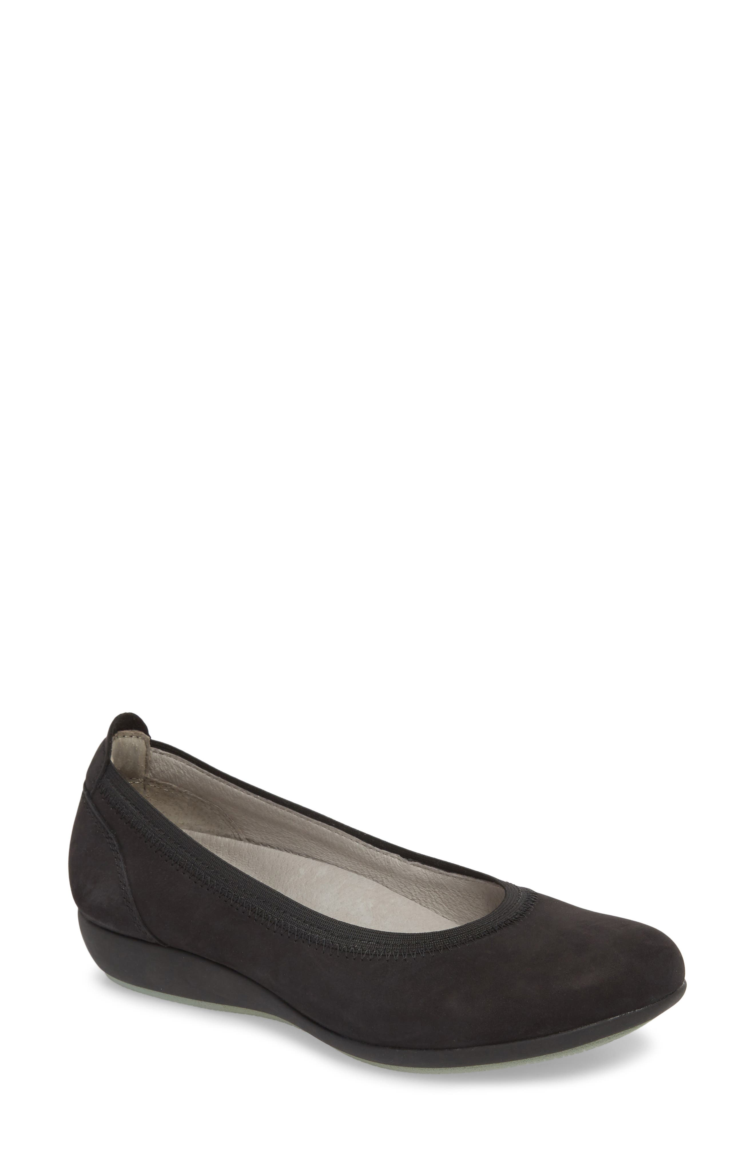 DANSKO, Kristen Ballet Flat, Main thumbnail 1, color, BLACK MILLED NUBUCK