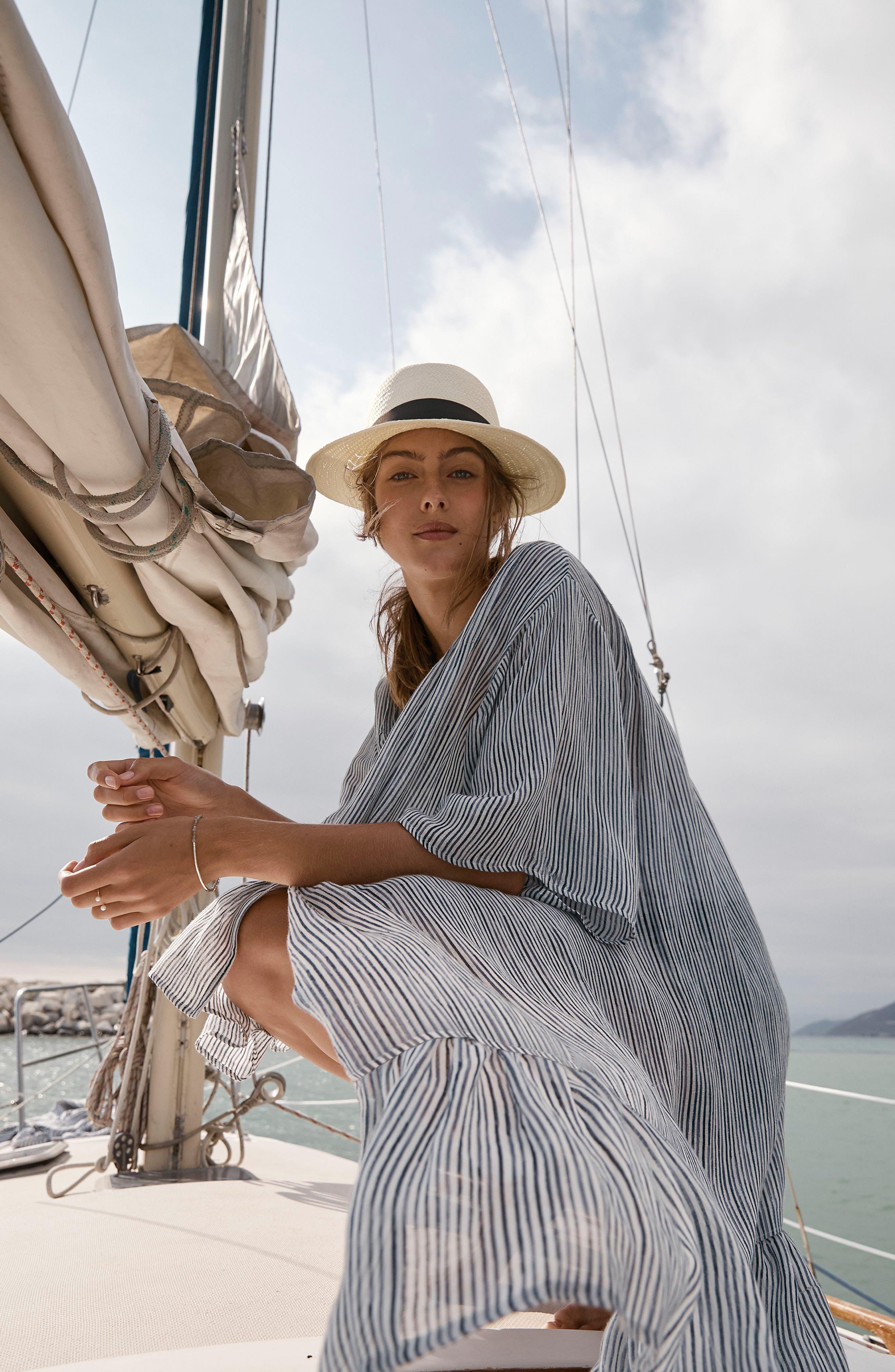HALOGEN<SUP>®</SUP>, Straw Panama Hat, Alternate thumbnail 4, color, 900