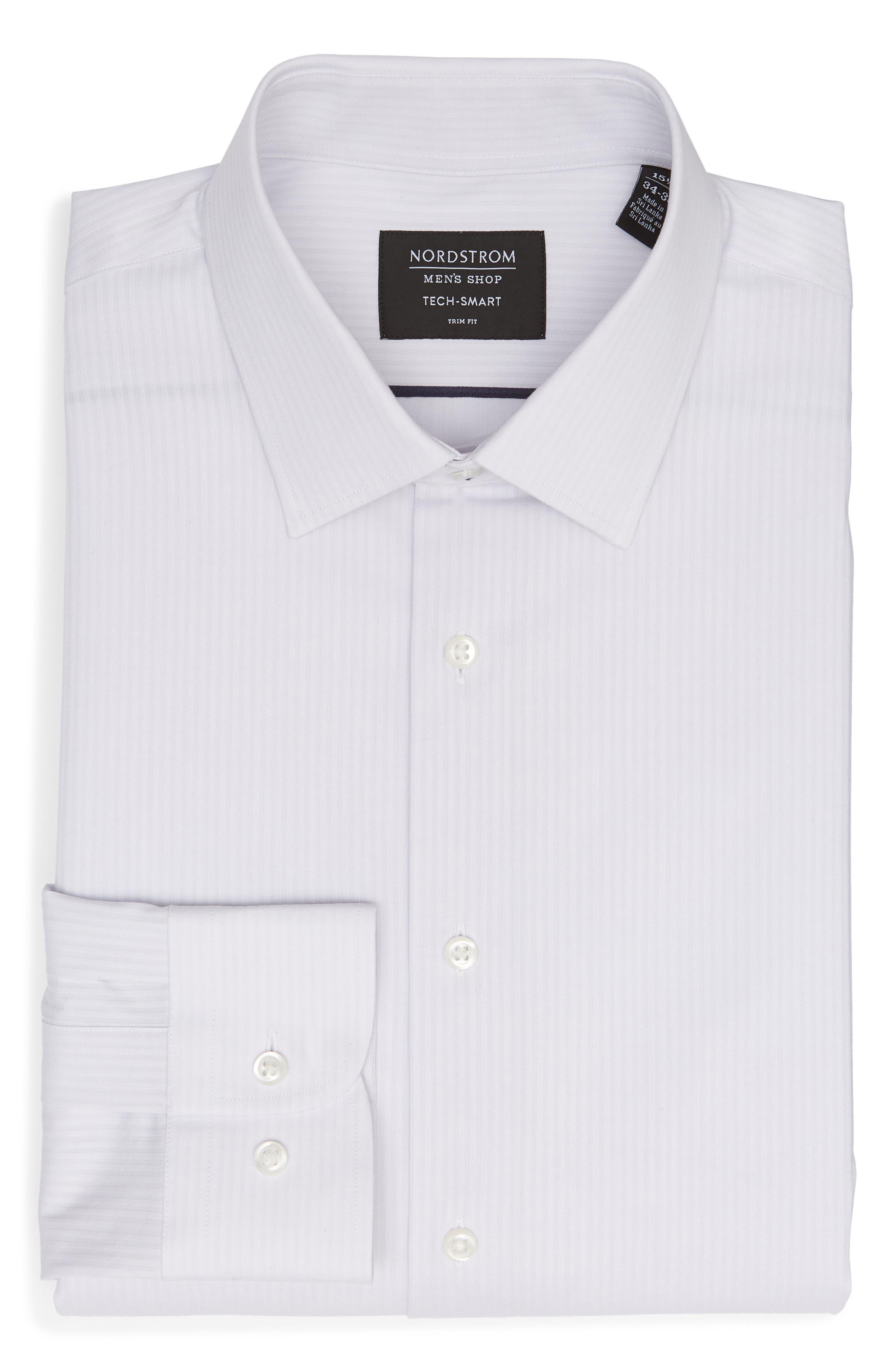 NORDSTROM MEN'S SHOP, Tech-Smart Trim Fit Stretch Stripe Dress Shirt, Alternate thumbnail 5, color, 050