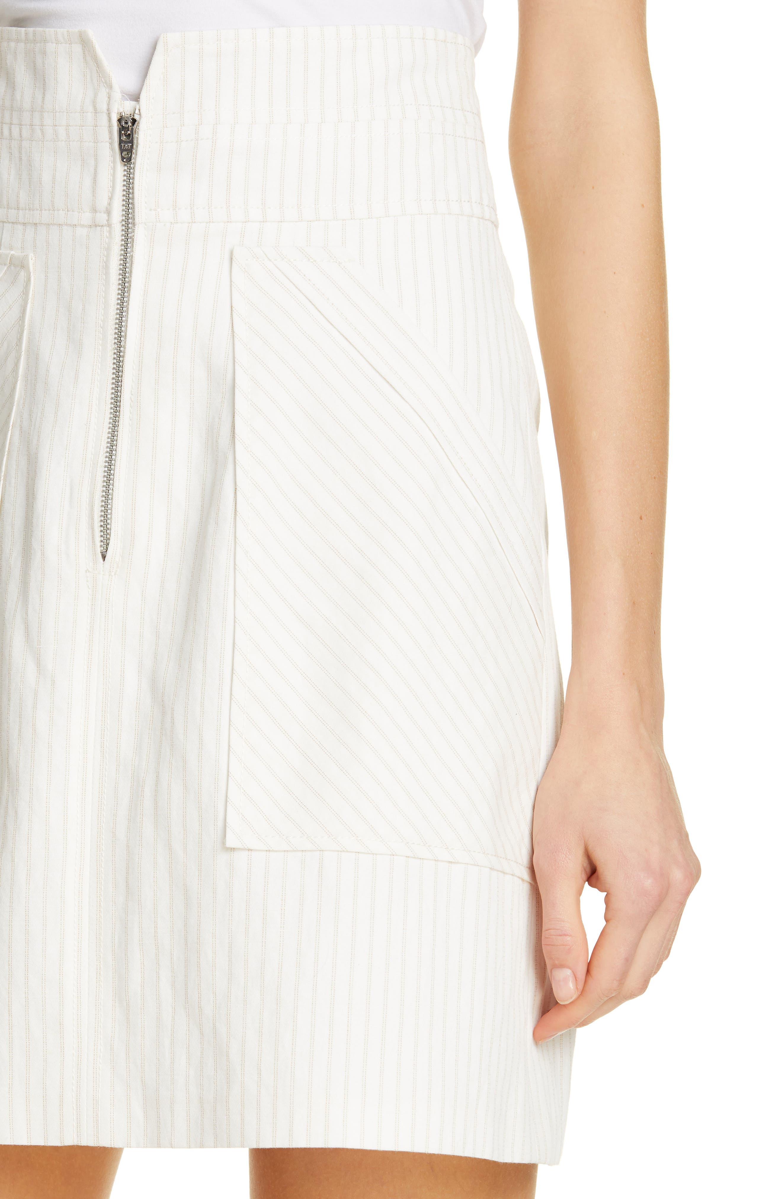 REBECCA TAYLOR, Zip Front Pinstripe Cotton & Linen Skirt, Alternate thumbnail 4, color, SNOW COMBO