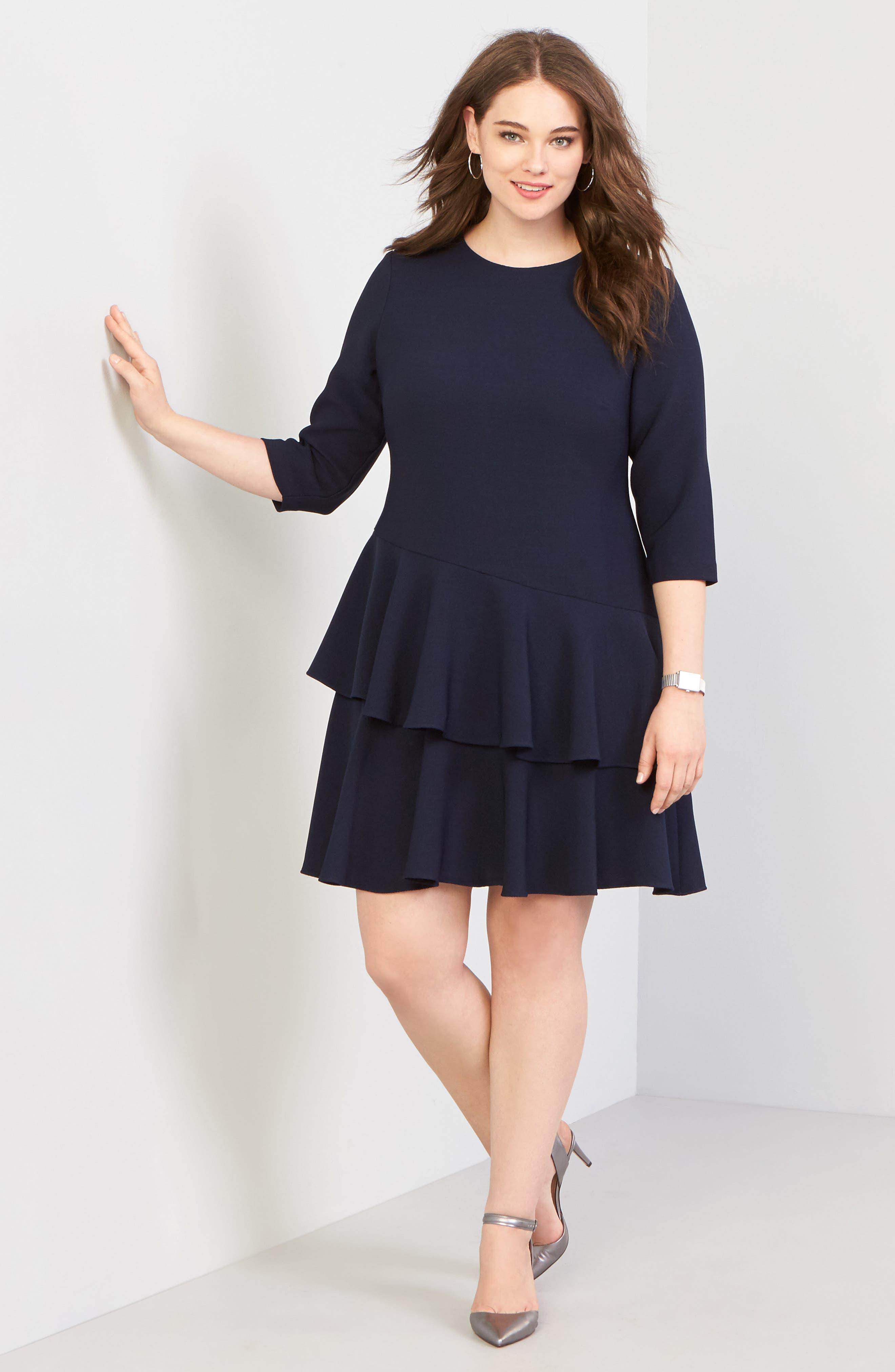 ELIZA J Ruffle Tiered Sheath Dress, Main, color, NAVY