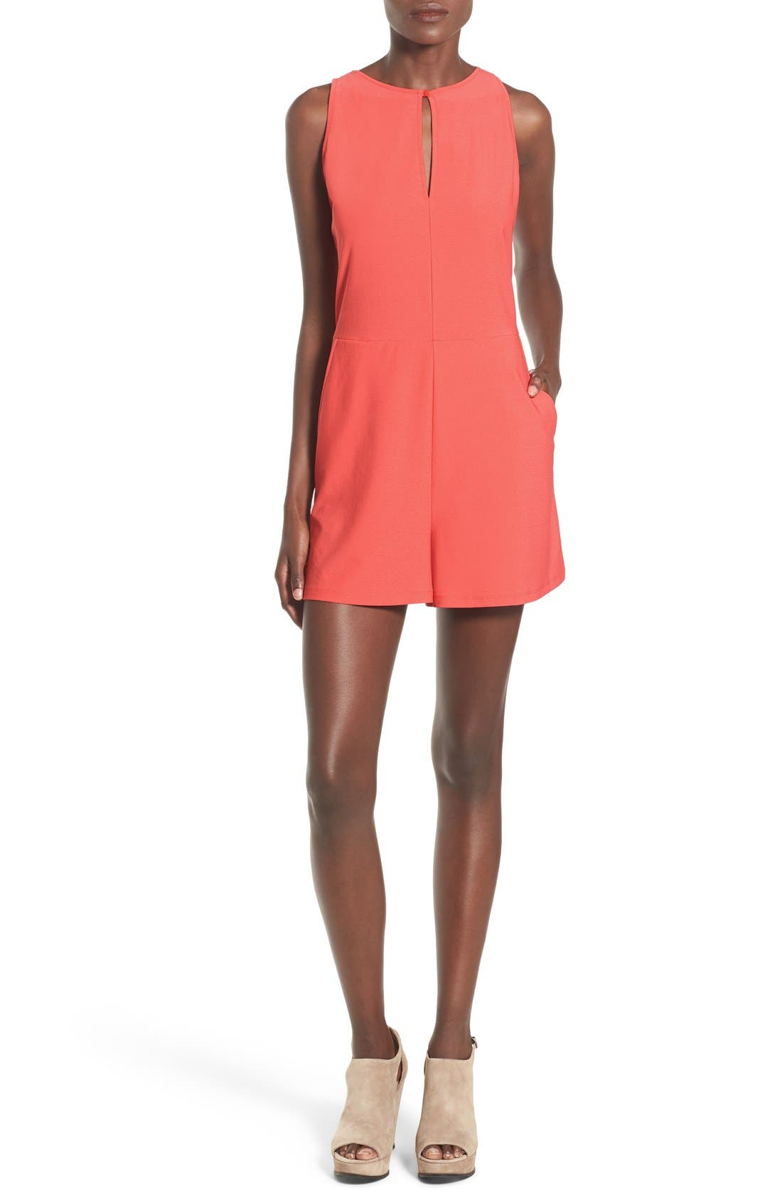 LEITH, Lace-Up Back Romper, Main thumbnail 1, color, 958