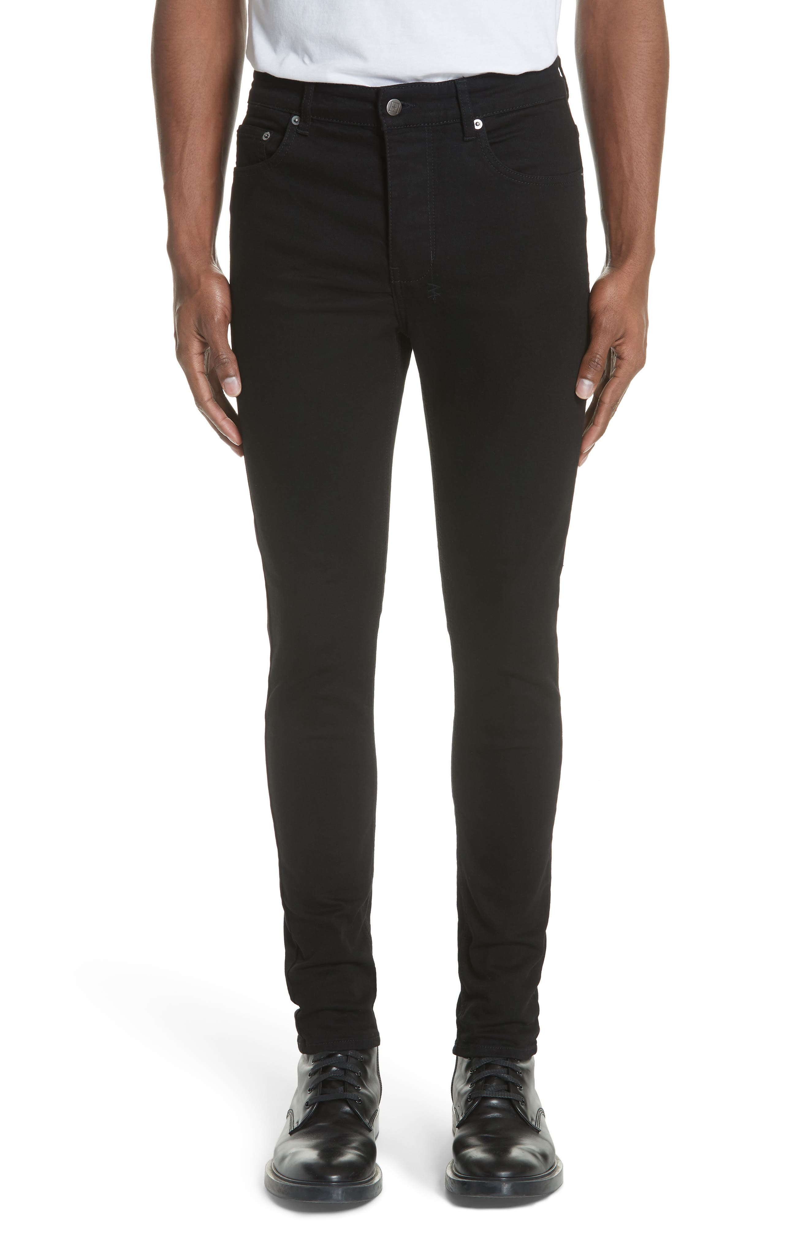 KSUBI, Chitch Laid Skinny Fit Jeans, Main thumbnail 1, color, BLACK