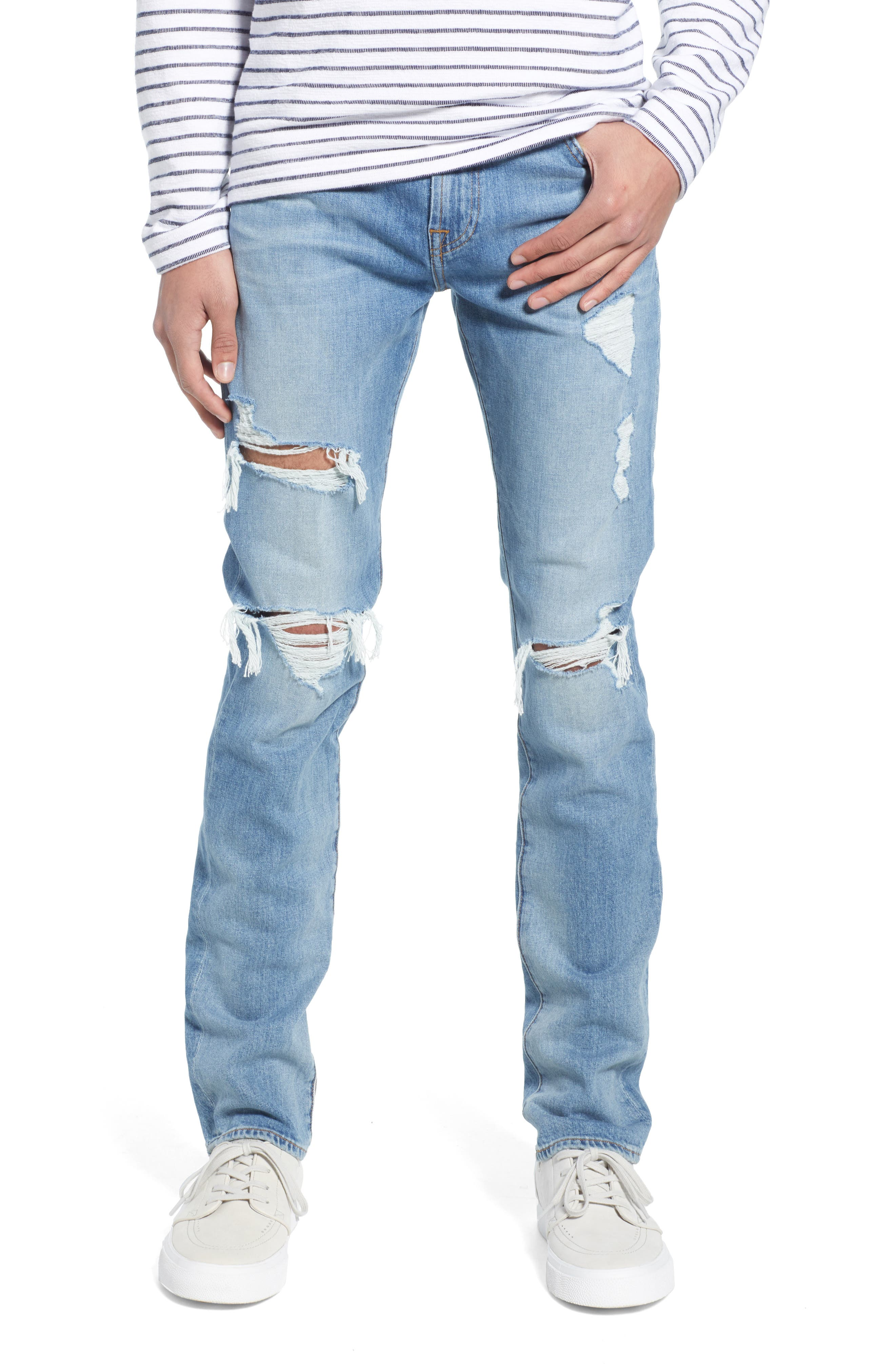 7 FOR ALL MANKIND<SUP>®</SUP>, Paxtyn Ripped Skinny Jeans, Main thumbnail 1, color, CONQUISTAD