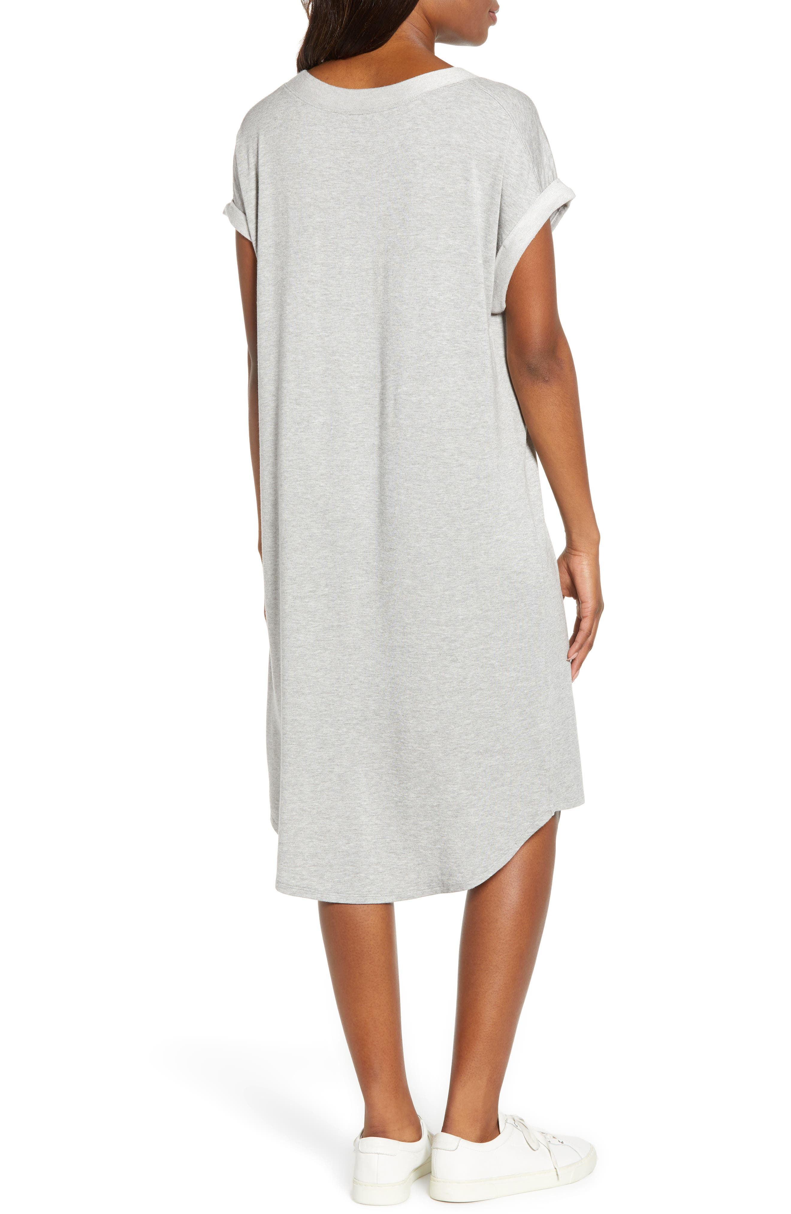 CASLON<SUP>®</SUP>, Off-Duty Knit T-Shirt Dress, Alternate thumbnail 2, color, GREY HEATHER