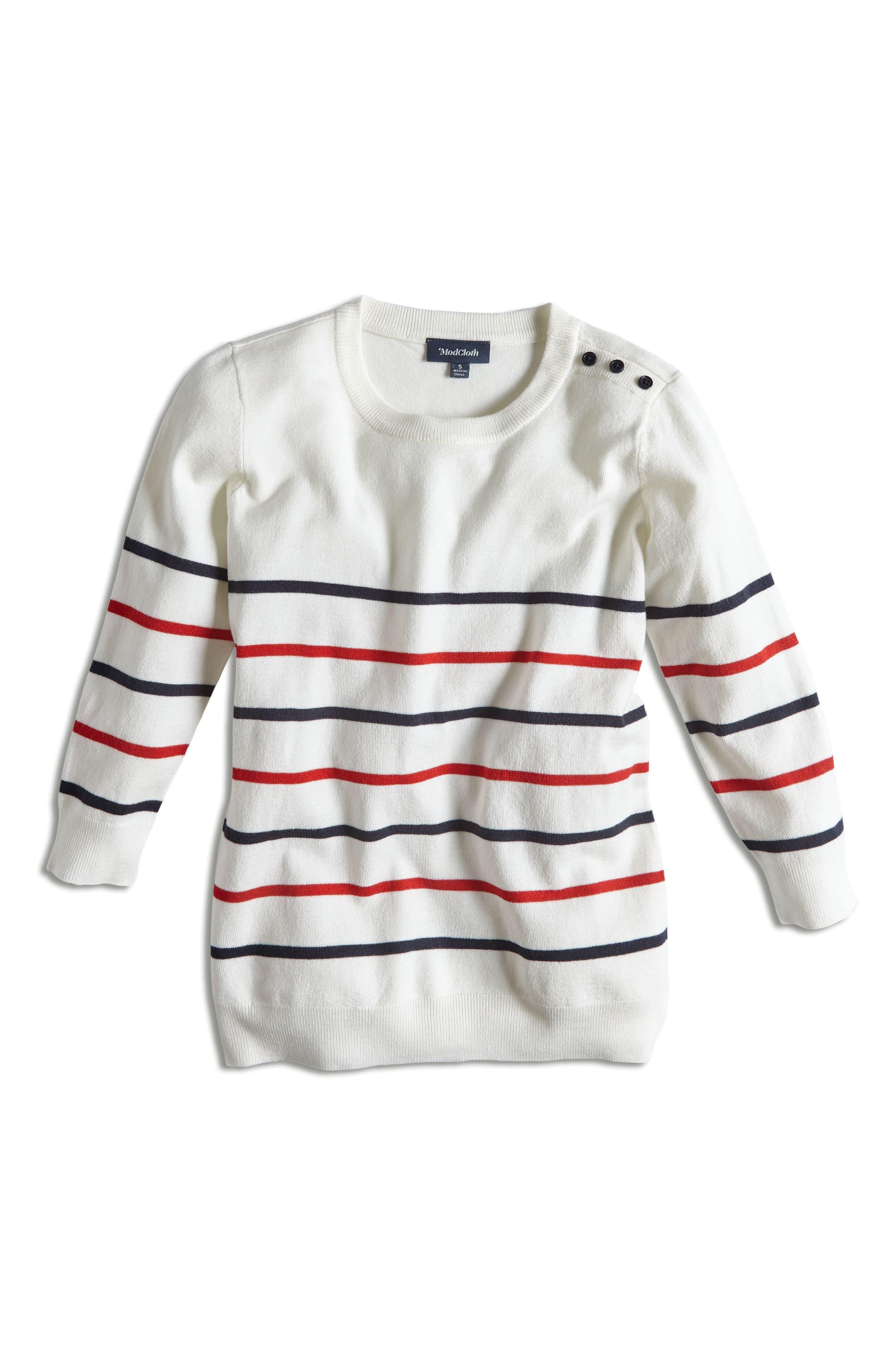 MODCLOTH, Charter School Stripe Sweater, Alternate thumbnail 5, color, 901