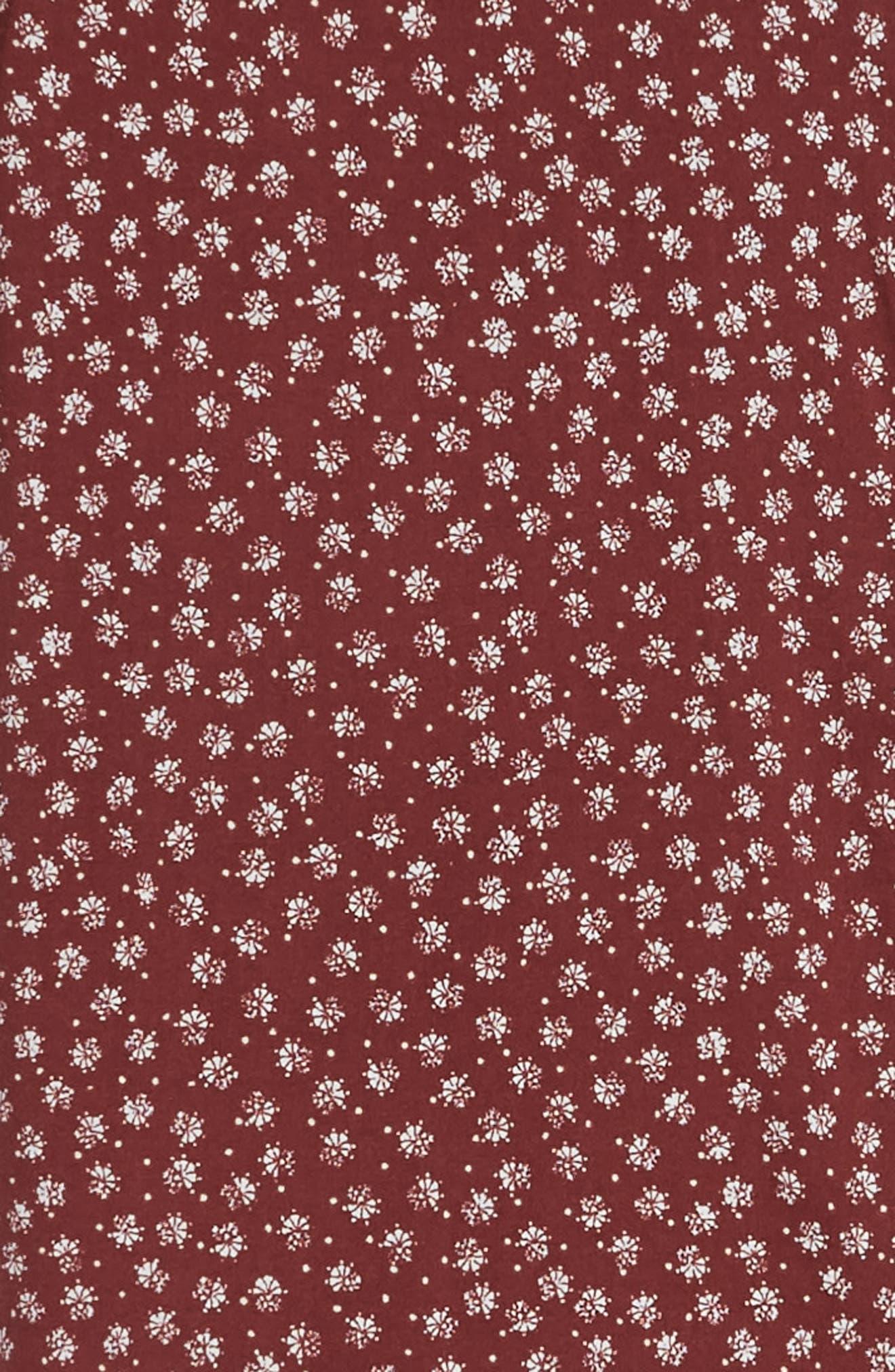 RVCA, Ficus Floral Print Shirt, Alternate thumbnail 6, color, BORDEAUX