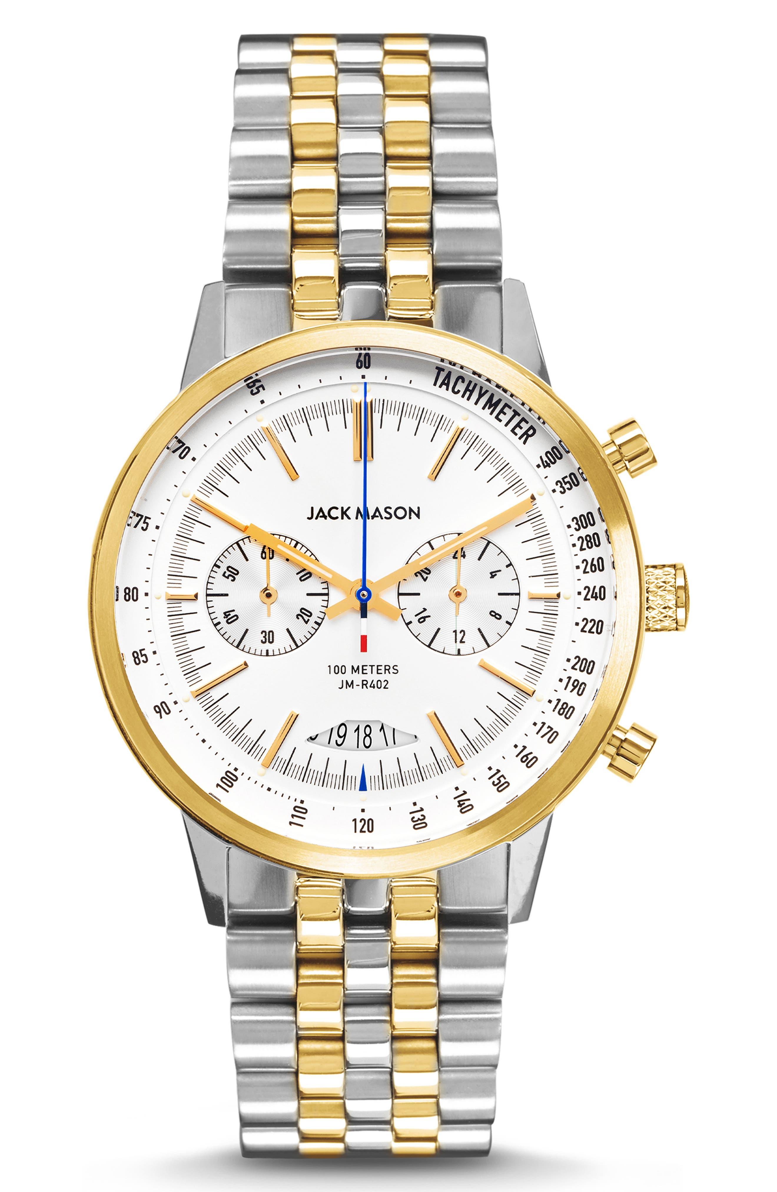 JACK MASON, Racing Chronograph Bracelet Watch, 40mm, Main thumbnail 1, color, WHITE/ SILVER/ GOLD