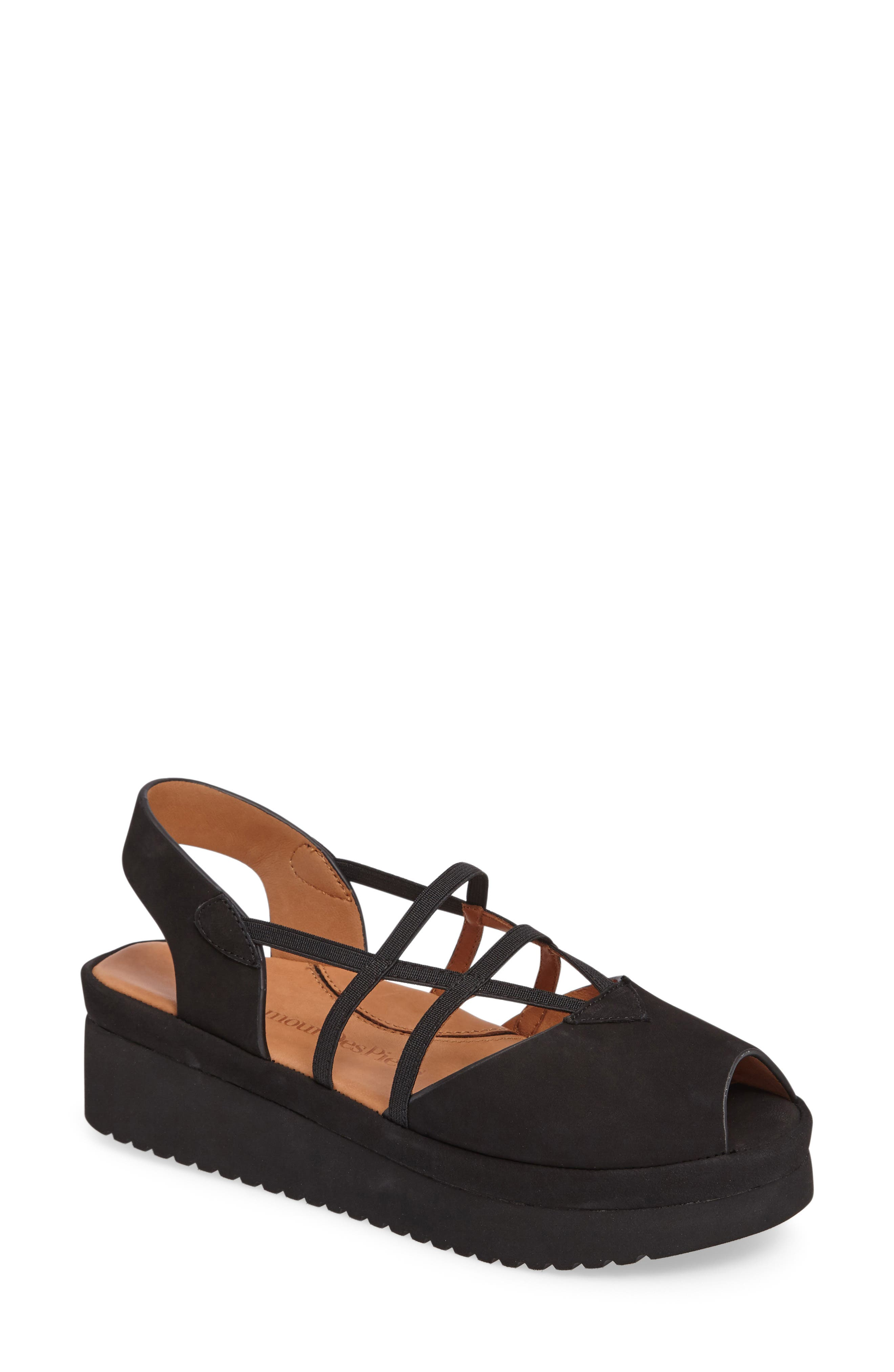 L'AMOUR DES PIEDS, Adelais Platform Wedge Sandal, Main thumbnail 1, color, BLACK NUBUCK LEATHER