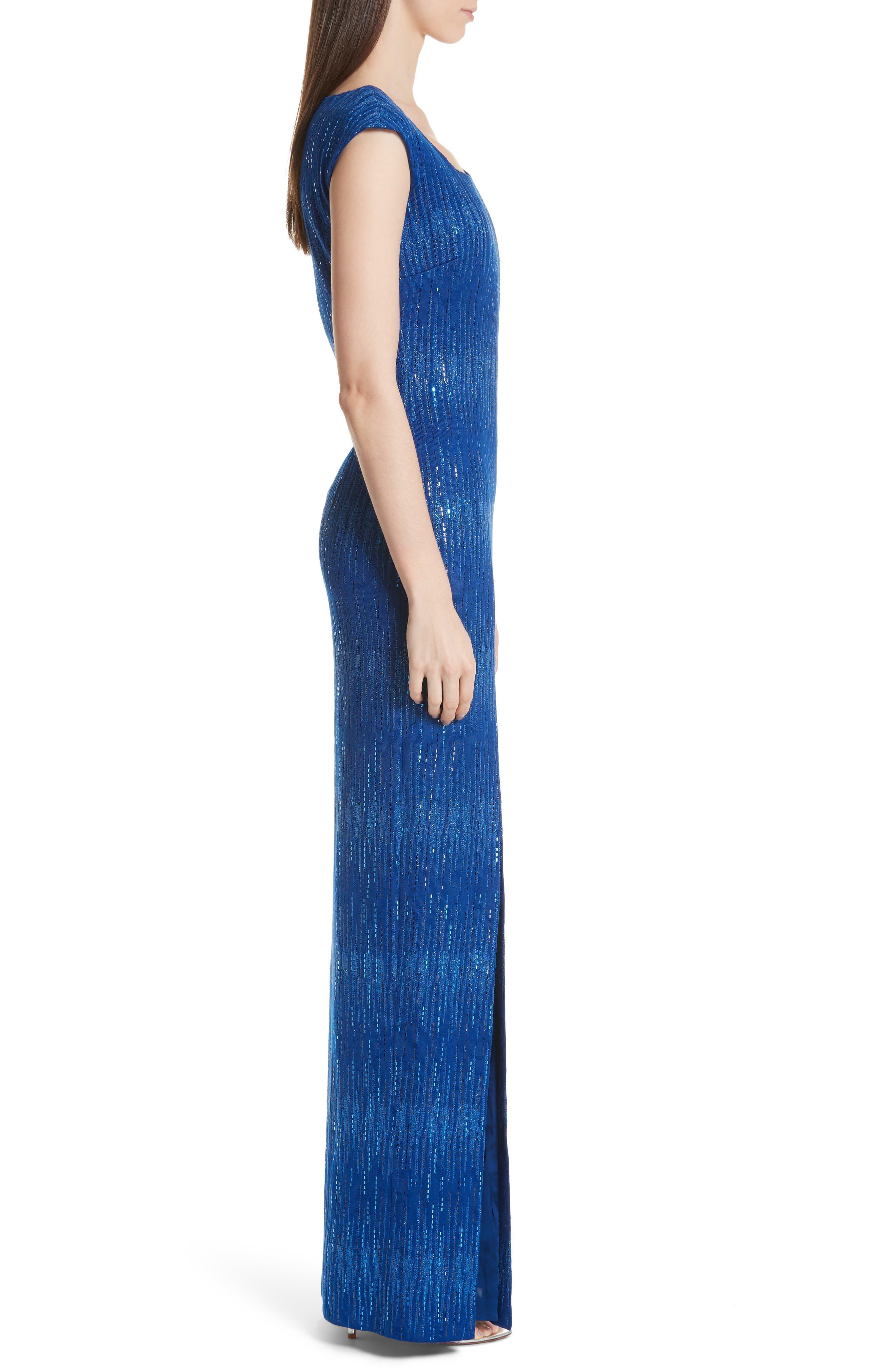 ST. JOHN COLLECTION, Asymmetrical Neck Carrie Knit Evening Dress, Alternate thumbnail 3, color, AZUL