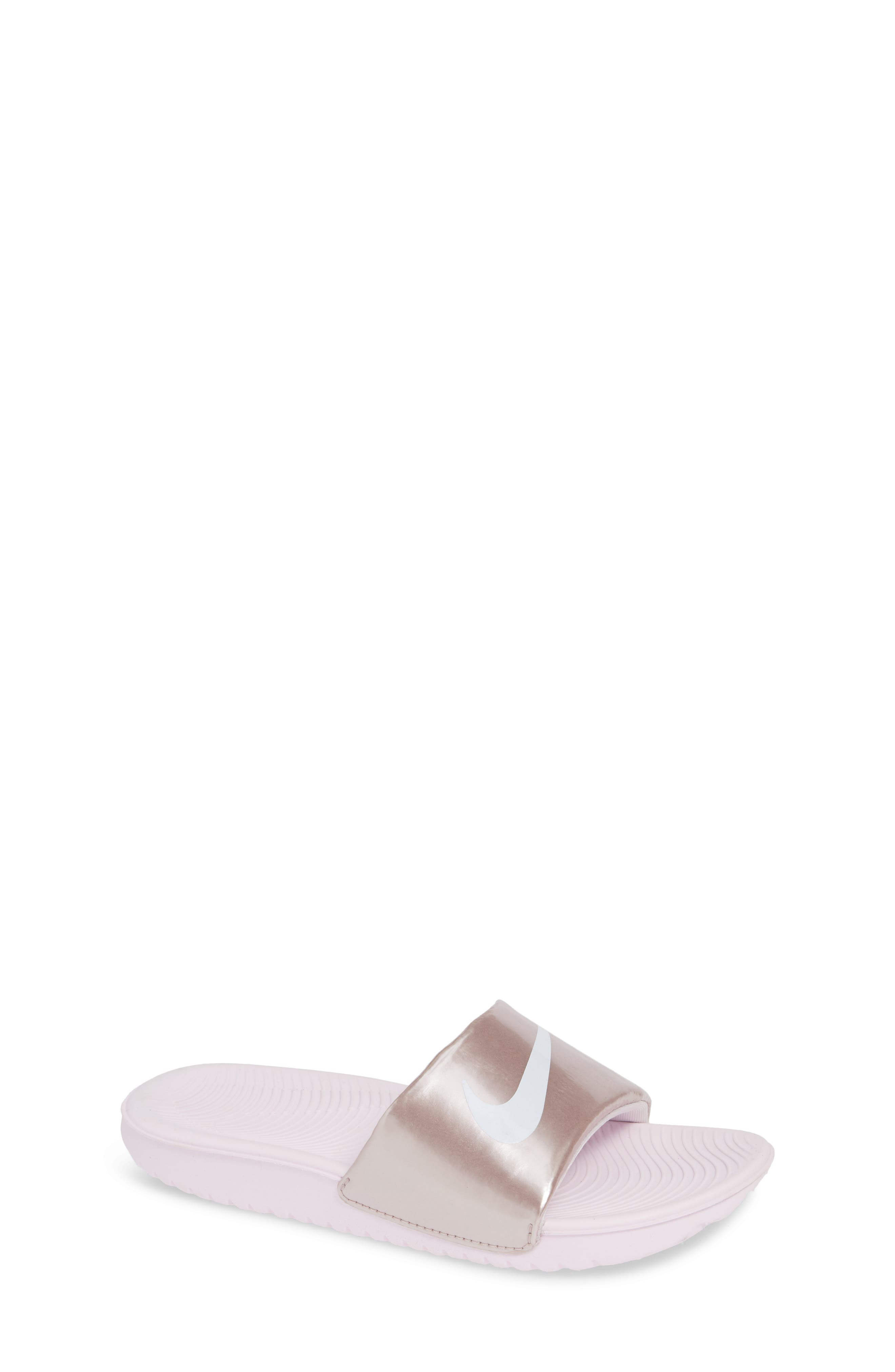 NIKE, 'Kawa' Slide Sandal, Main thumbnail 1, color, ARCTIC PINK/ WHITE/ RED BRONZE