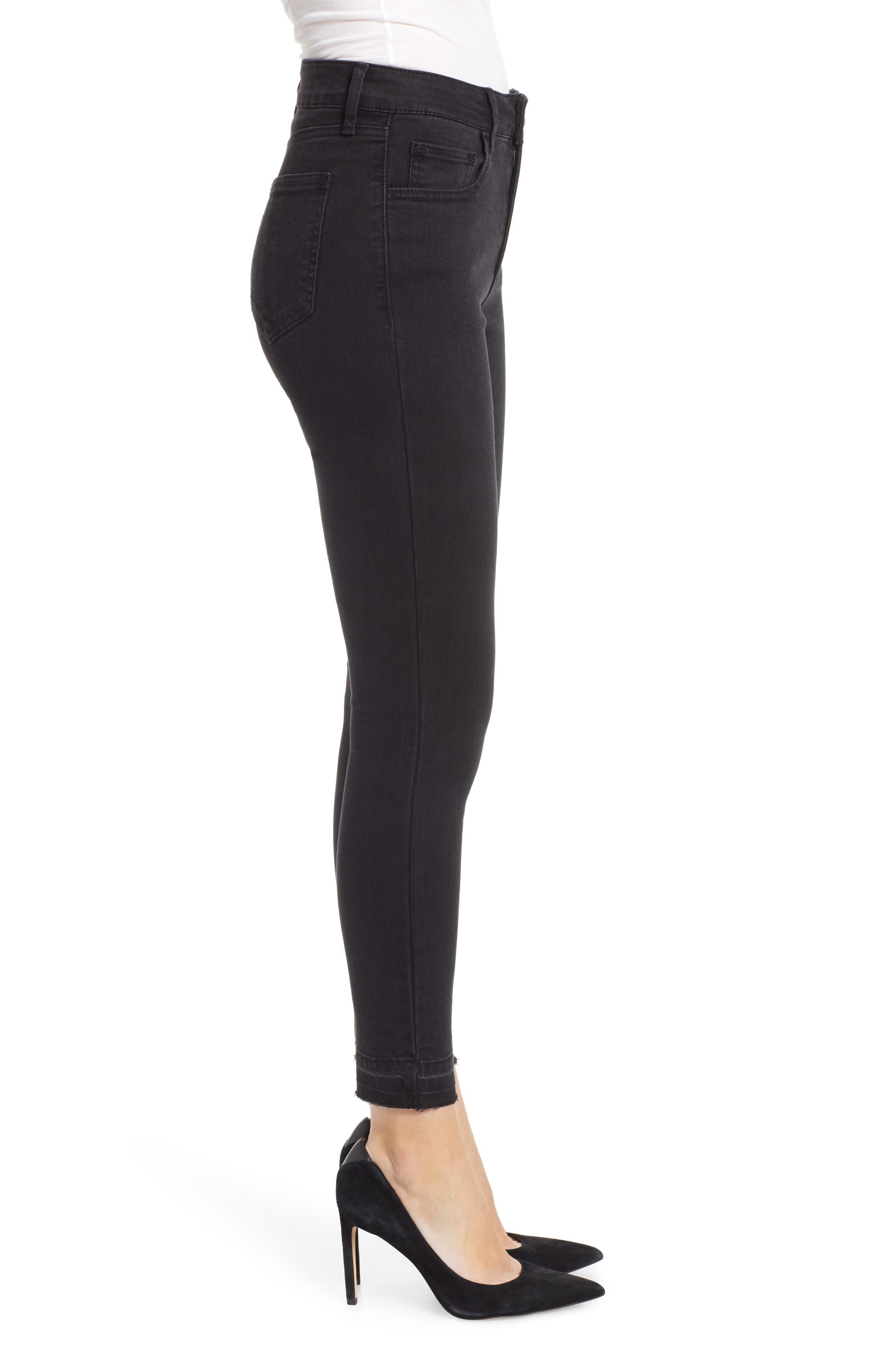 PROSPERITY DENIM, Release Hem Skinny Jeans, Alternate thumbnail 4, color, BLACK