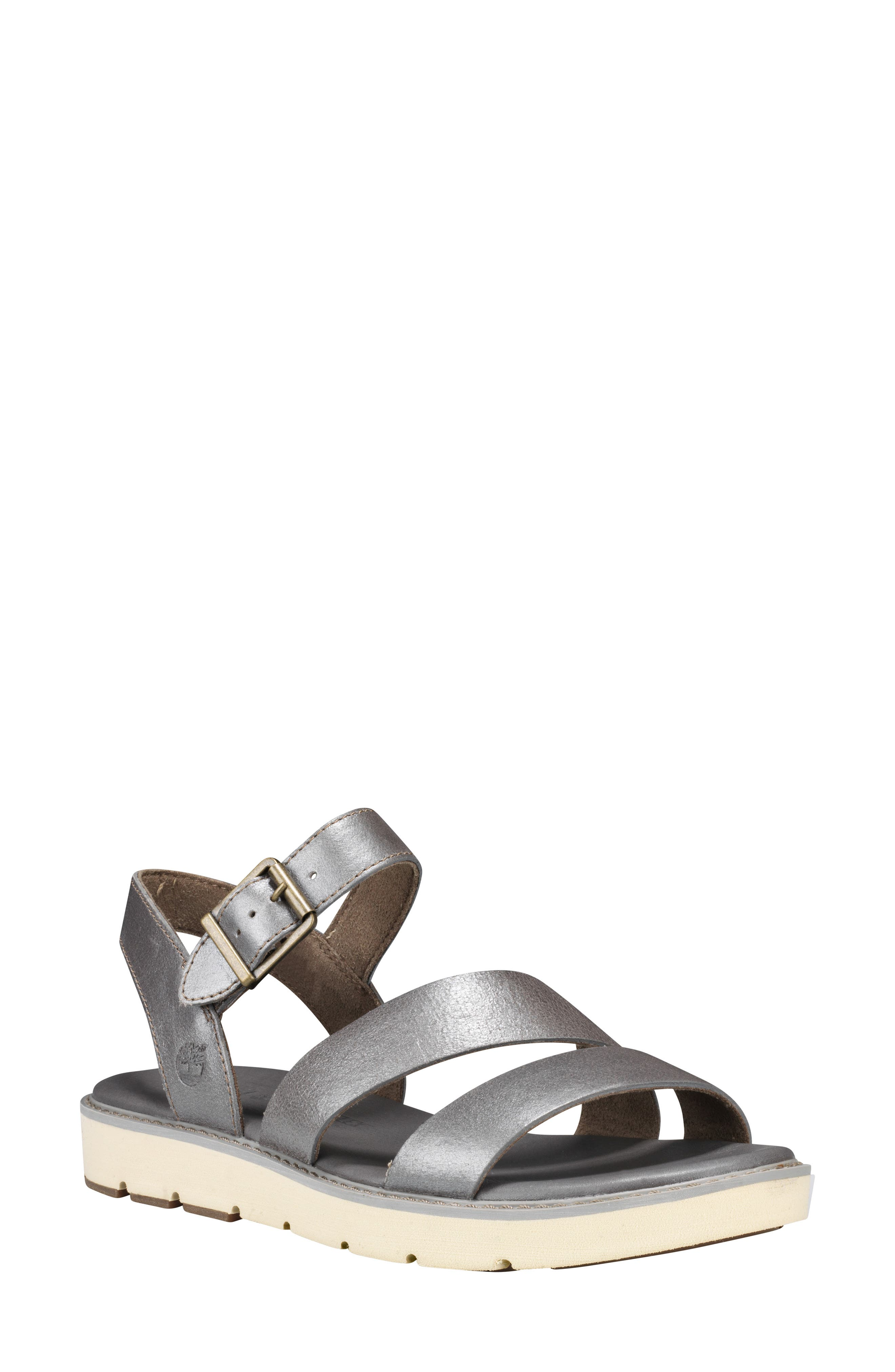 TIMBERLAND Bailey Park Sandal, Main, color, SILVER METALLIC LEATHER