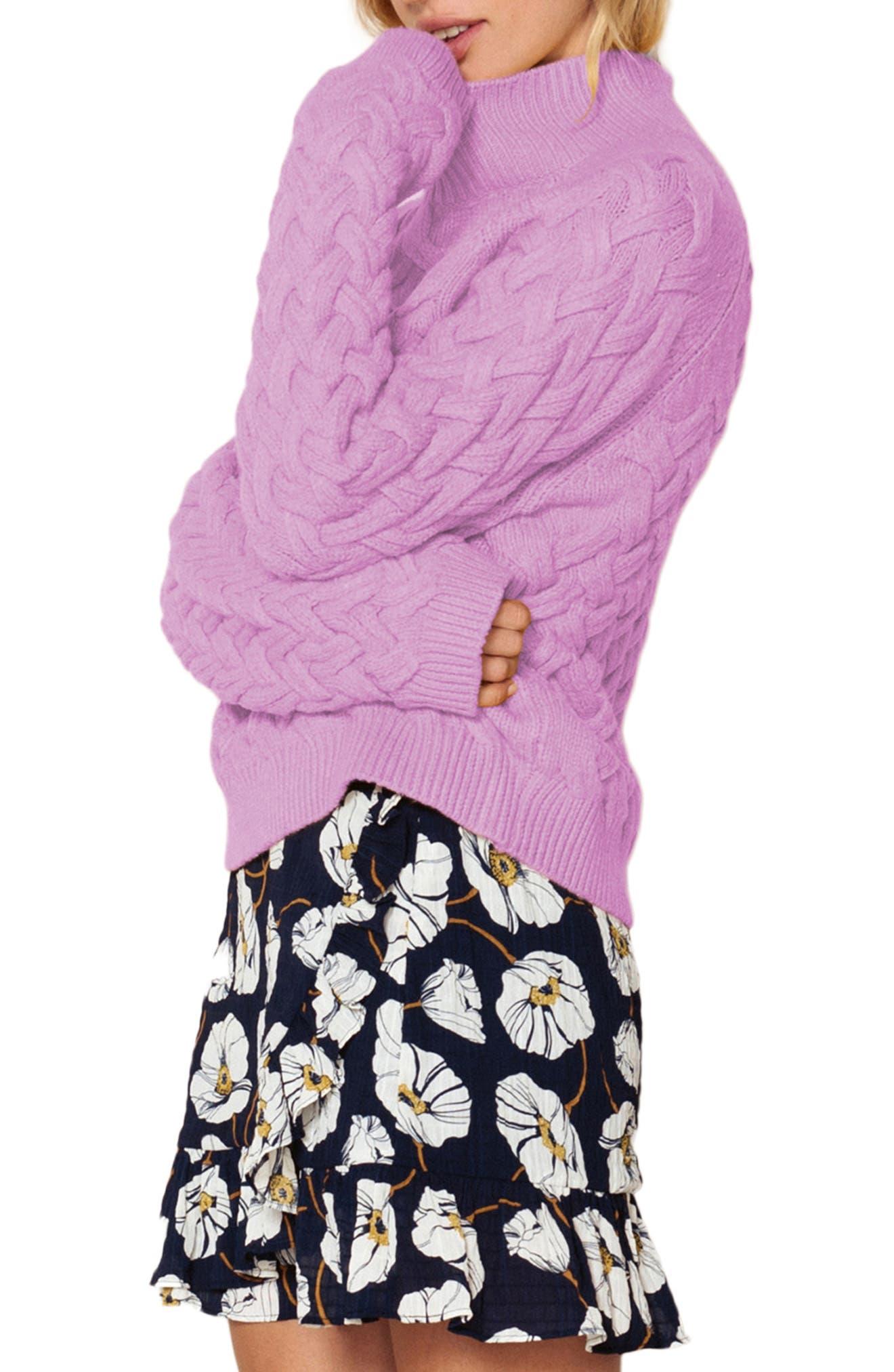 THE EAST ORDER, Adele Turtleneck Sweater, Alternate thumbnail 3, color, 534