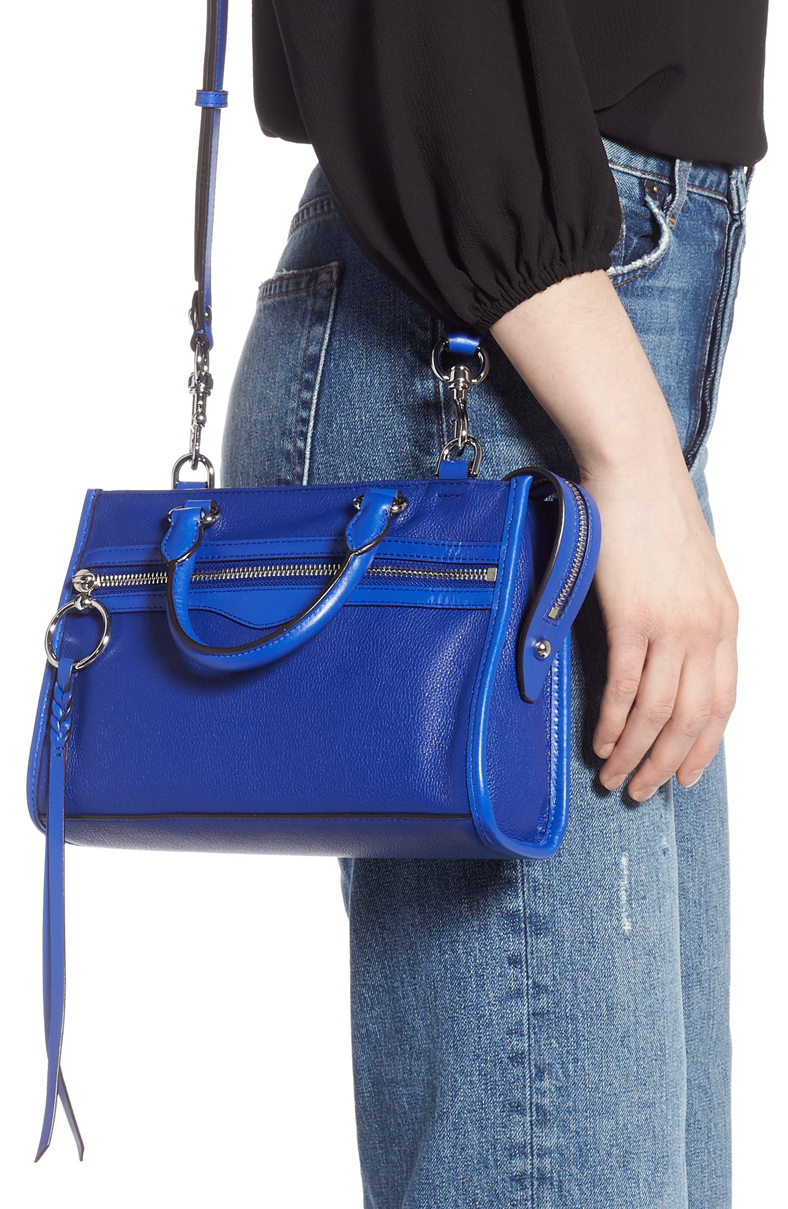 REBECCA MINKOFF, Micro Bedford Leather Satchel, Alternate thumbnail 2, color, BRIGHT BLUE