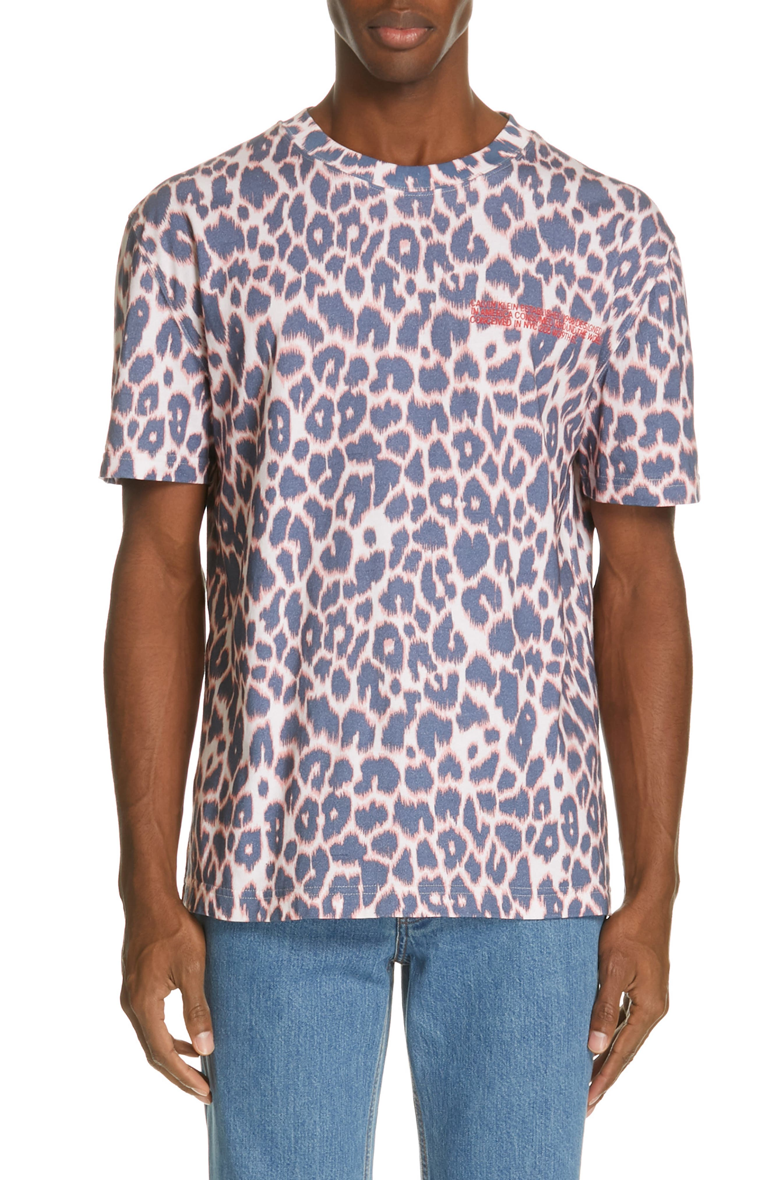 CALVIN KLEIN 205W39NYC, Electric Panther Print T-Shirt, Main thumbnail 1, color, ELECTRIC PANTHERE