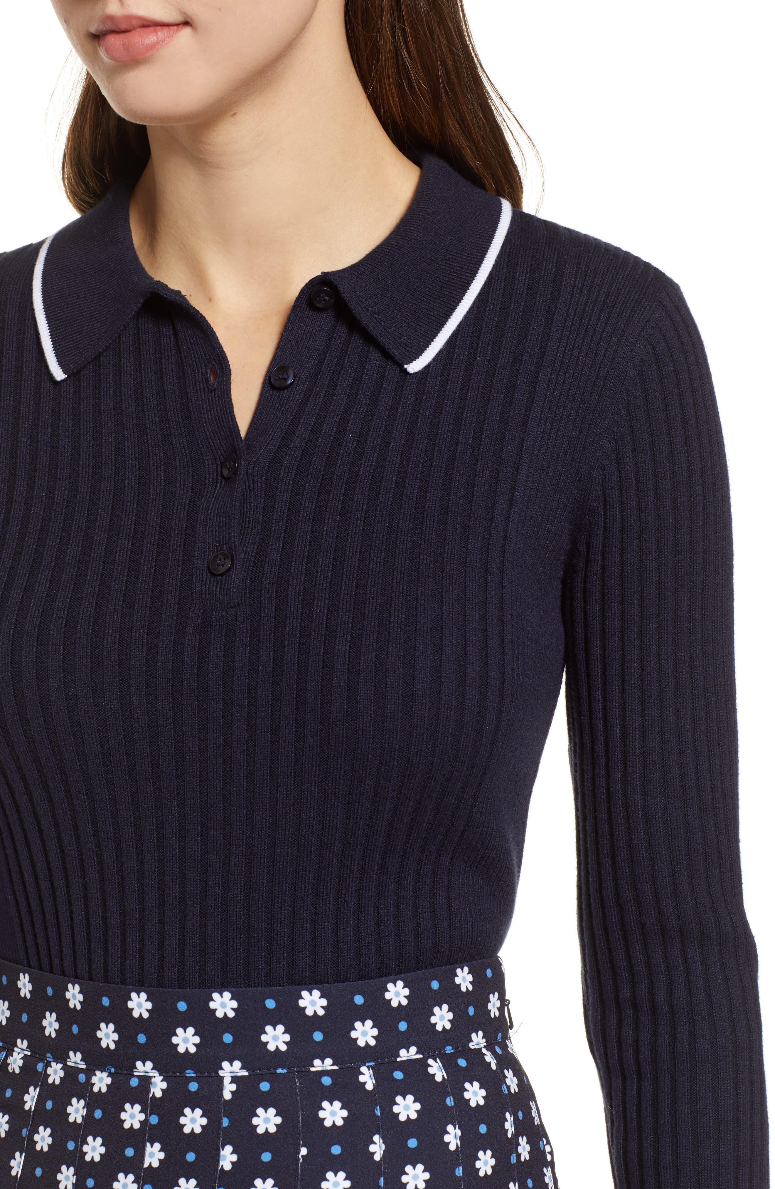 1901, Long Sleeve Polo Sweater, Alternate thumbnail 4, color, 410