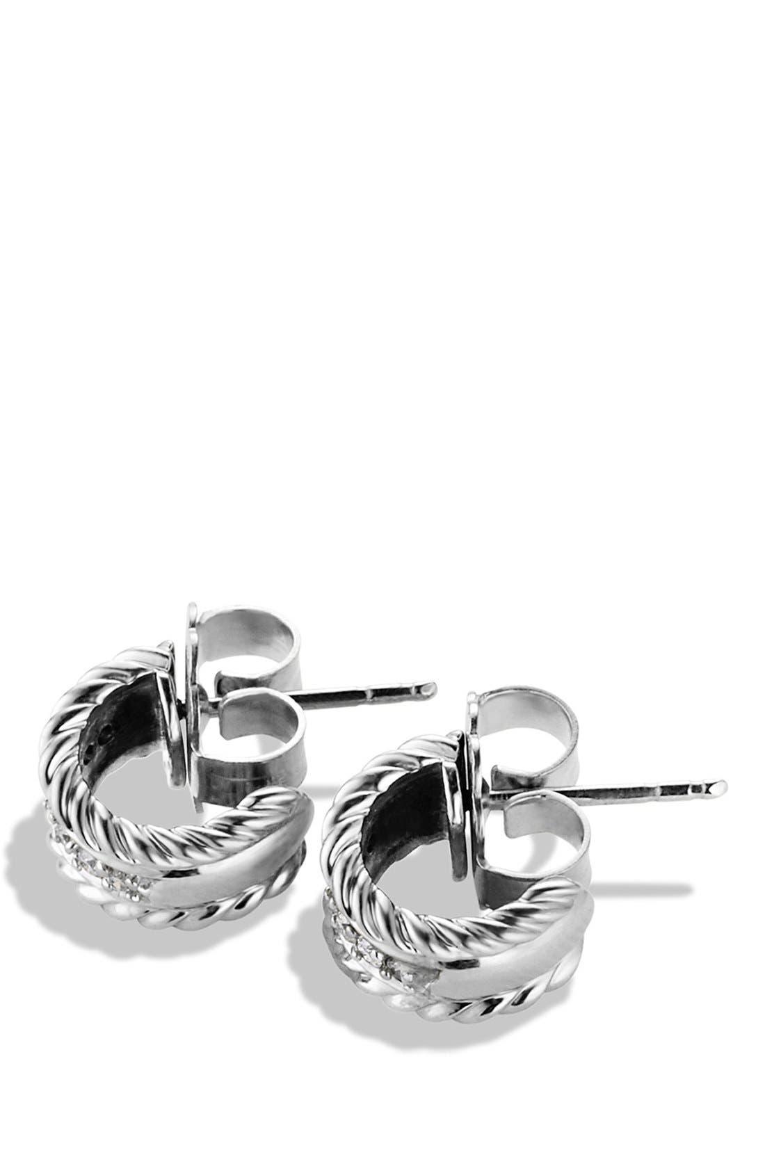 DAVID YURMAN, 'Cable Classics' Extra-Small Earrings with Diamonds, Alternate thumbnail 3, color, DIAMOND