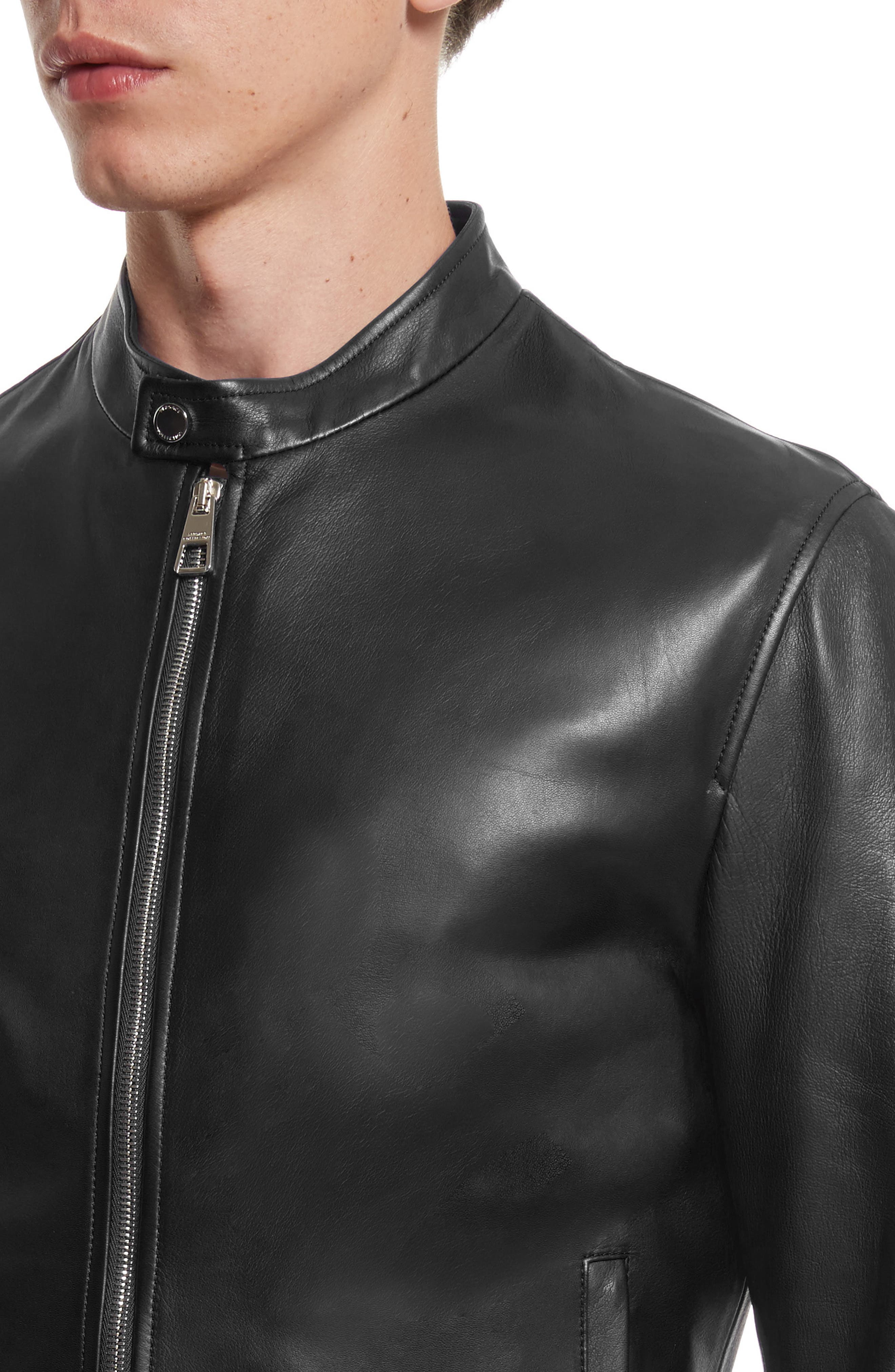 VERSACE COLLECTION, Café Racer Leather Jacket, Alternate thumbnail 4, color, 130