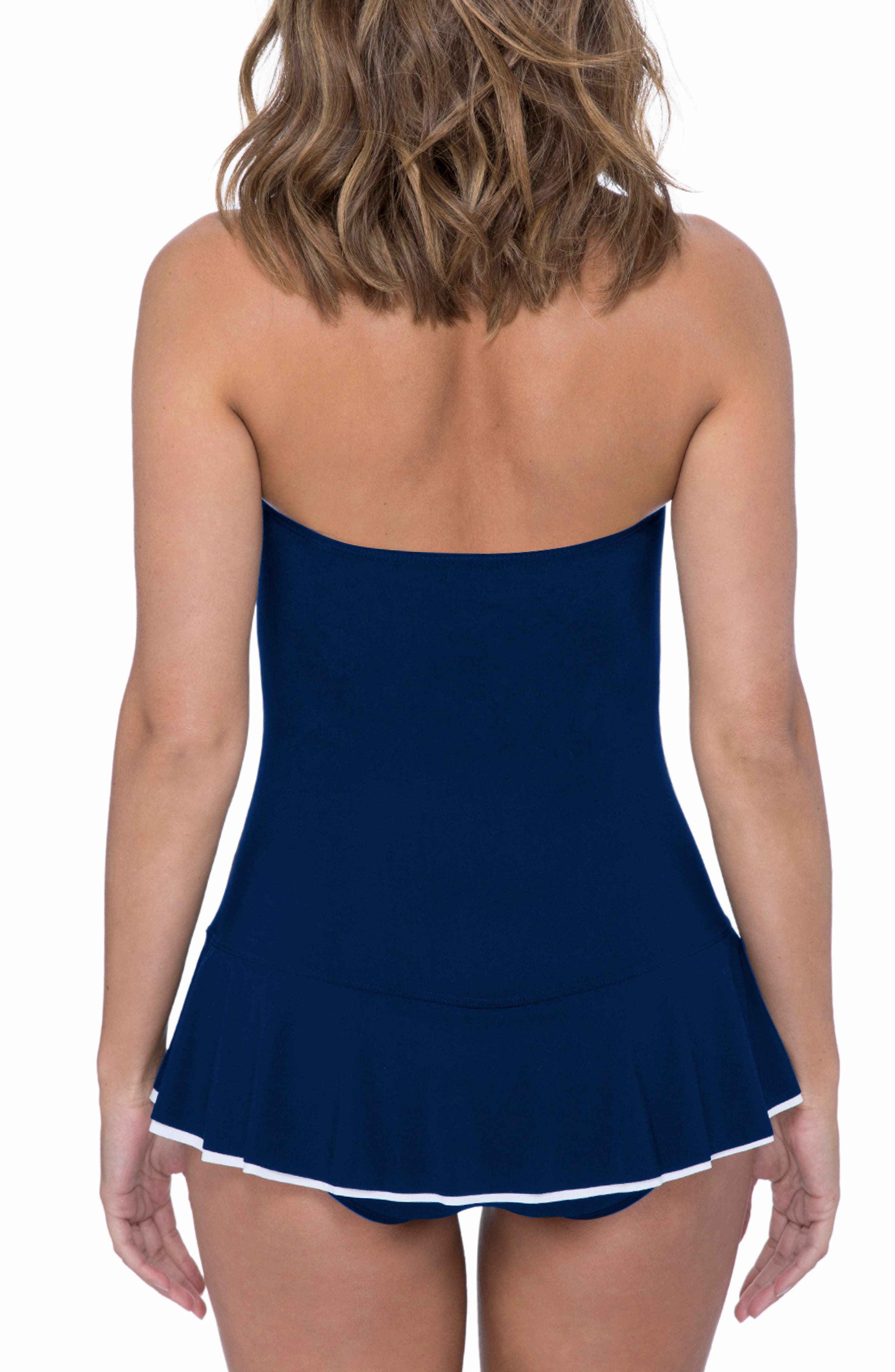 PROFILE BY GOTTEX, Belle Curve Peplum Underwire Swim Dress, Alternate thumbnail 2, color, NAVY/ WHITE