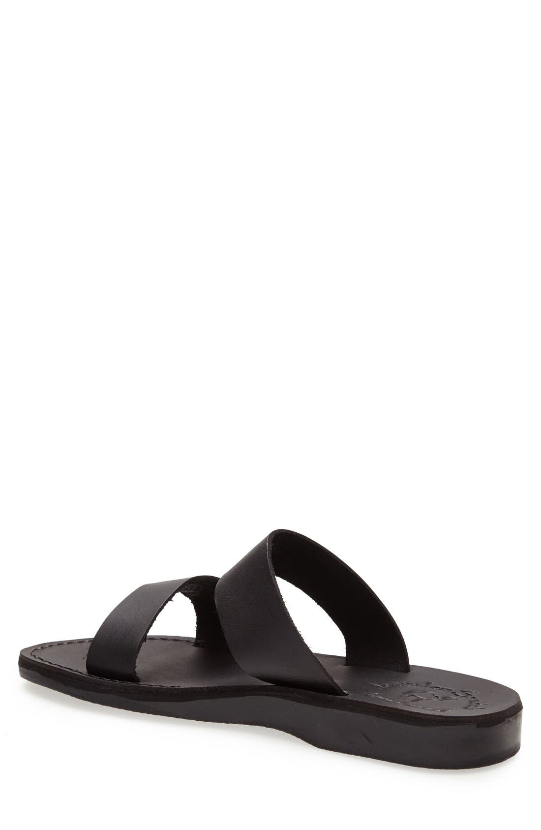 JERUSALEM SANDALS, 'Aviv' Leather Sandal, Alternate thumbnail 2, color, BLACK