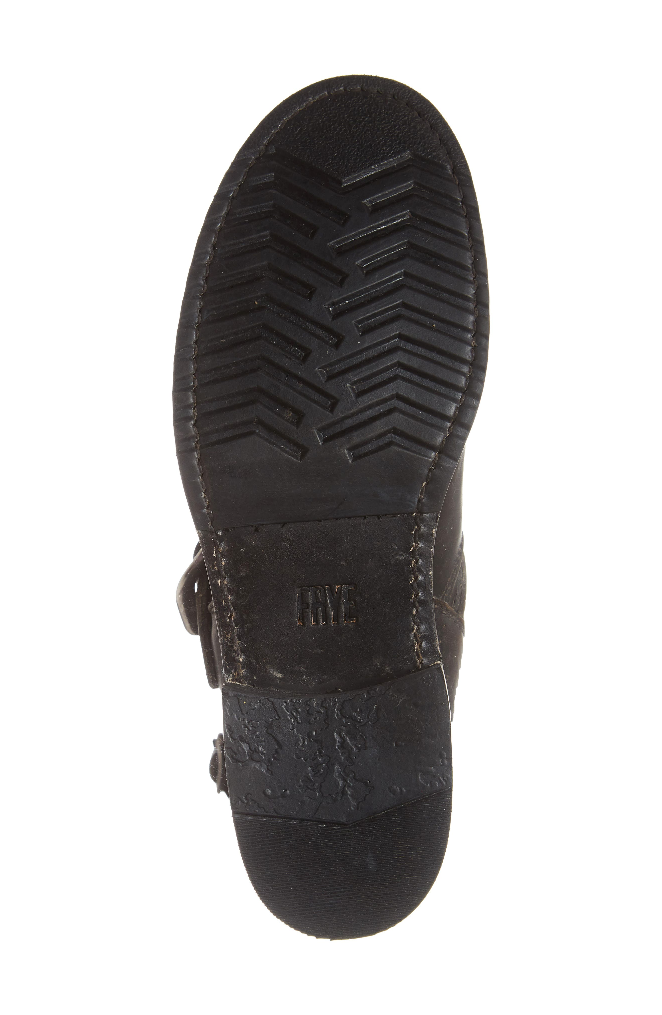 FRYE, 'Veronica' Short Boot, Alternate thumbnail 6, color, BLACK BRUSH OFF LEATHER