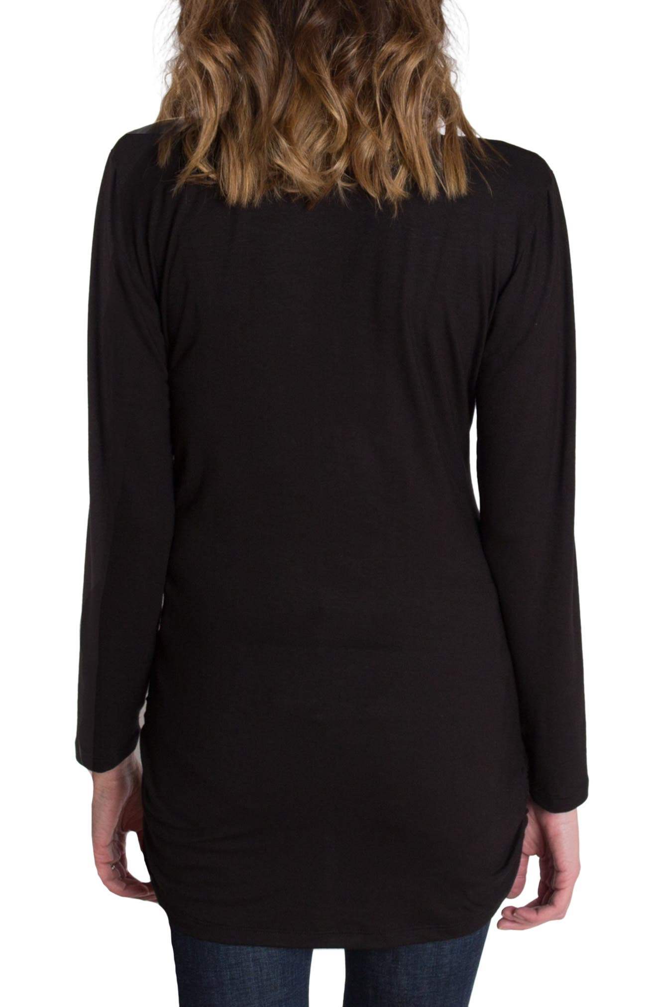 UDDERLY HOT MAMA, 'Luxe' Long Sleeve Nursing Tee, Alternate thumbnail 2, color, BLACK