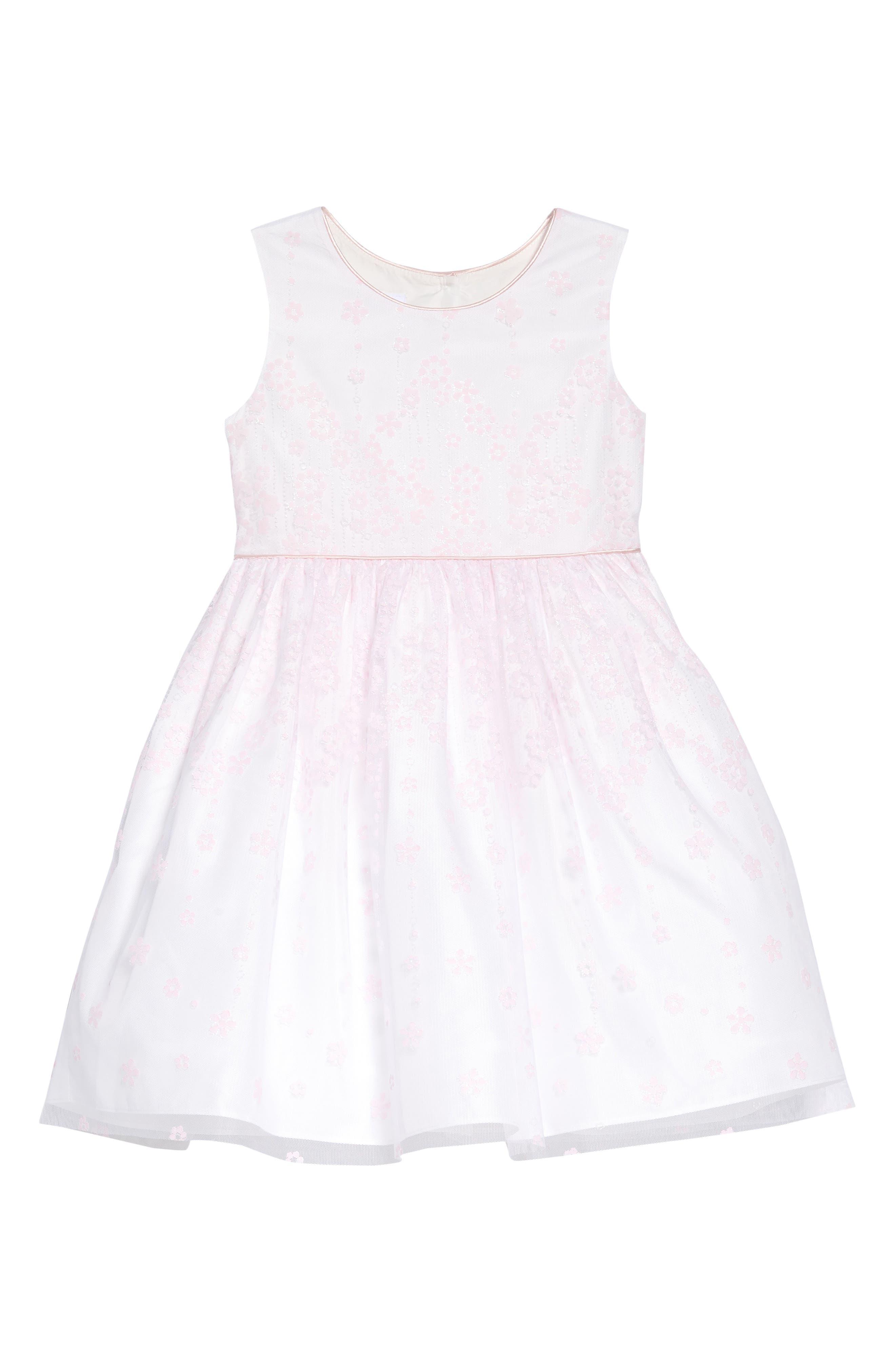 FRAIS, Flower Glitter Fit & Flare Dress, Main thumbnail 1, color, PINK