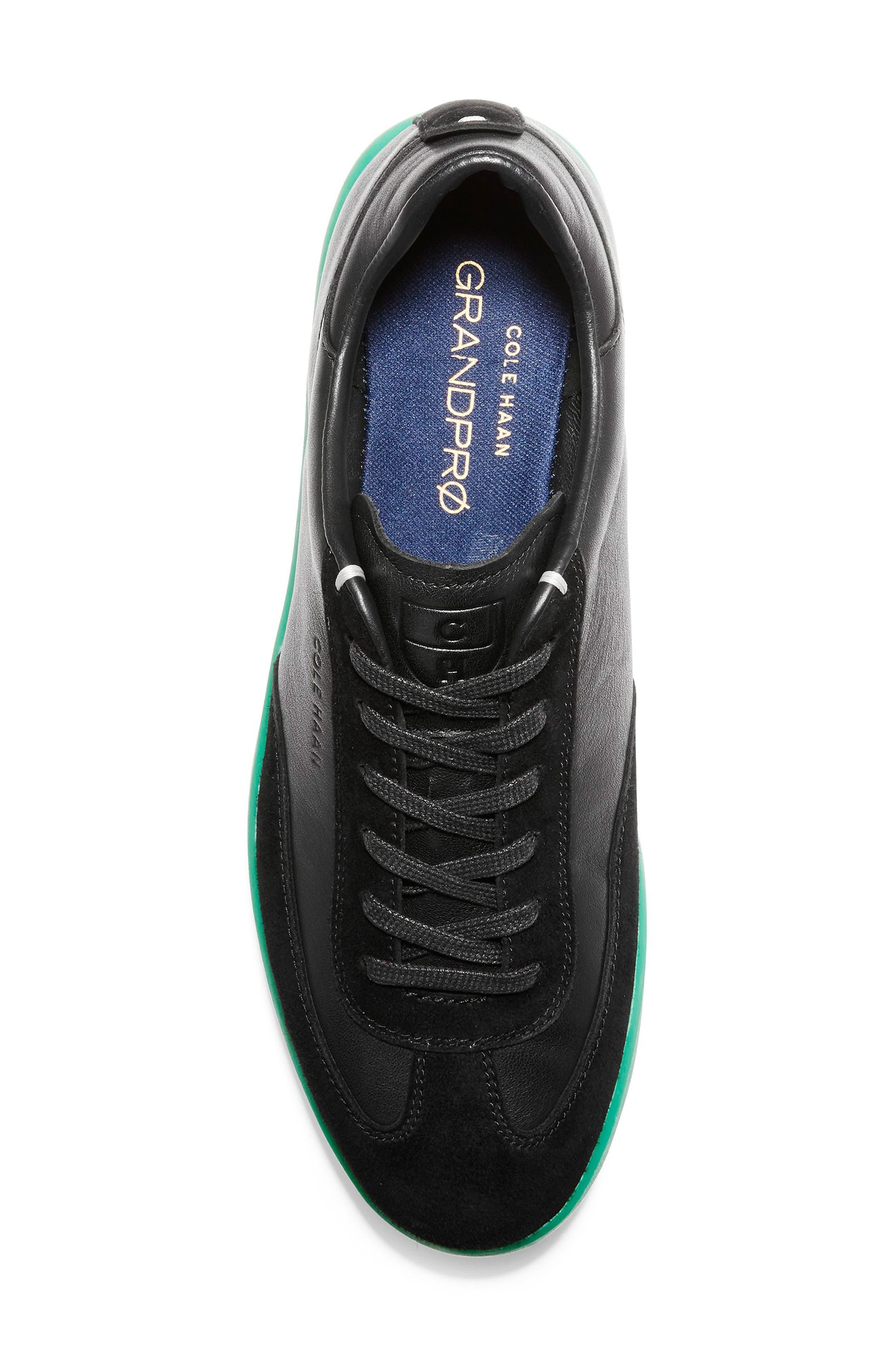 COLE HAAN, GrandPro Turf Sneaker, Alternate thumbnail 4, color, BLACK/ GREEN TRANSLUCENT