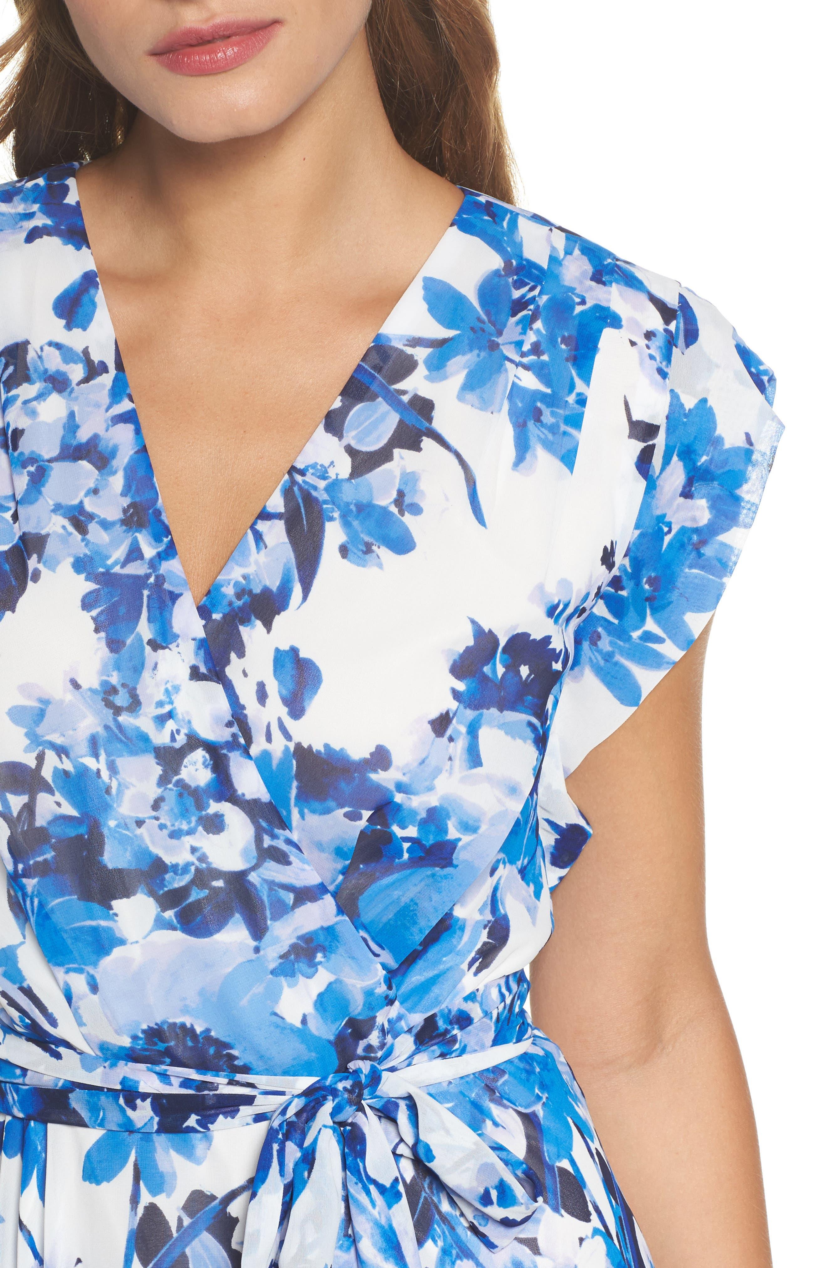ELIZA J, Floral Ruffle High/Low Maxi Dress, Alternate thumbnail 5, color, BLUE